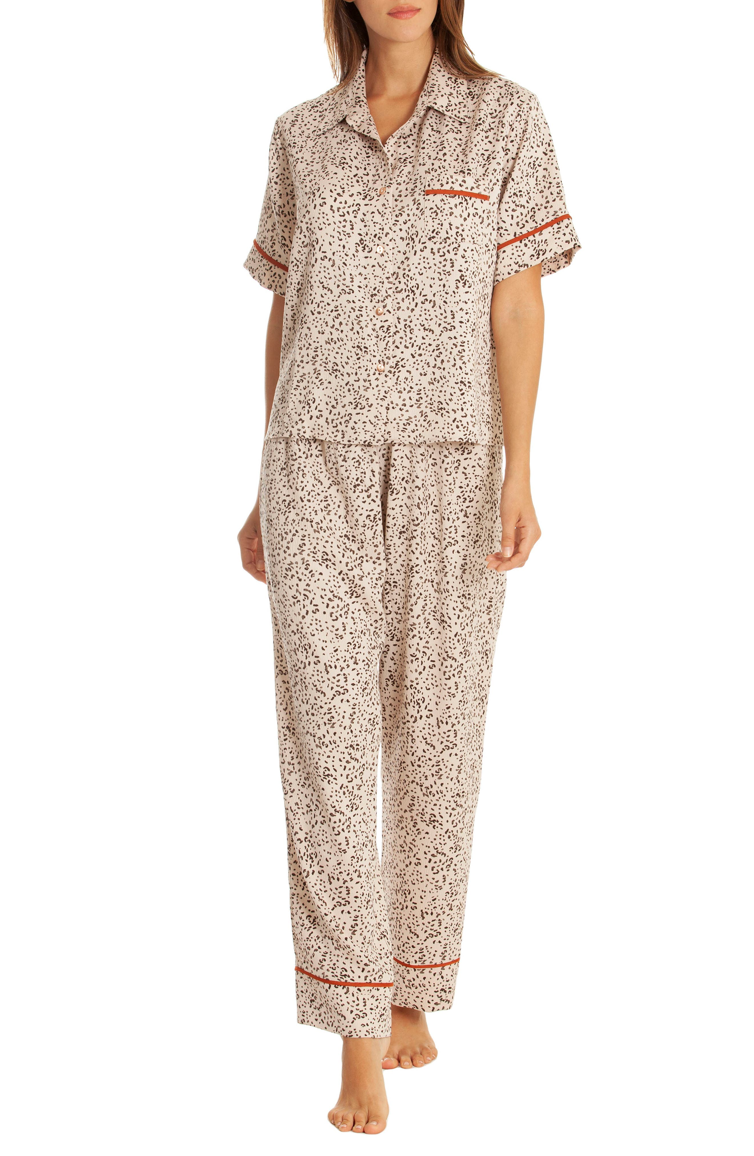 Dolce Pajamas,                             Main thumbnail 1, color,                             DOLCE TAUPE ANIMAL PRINT