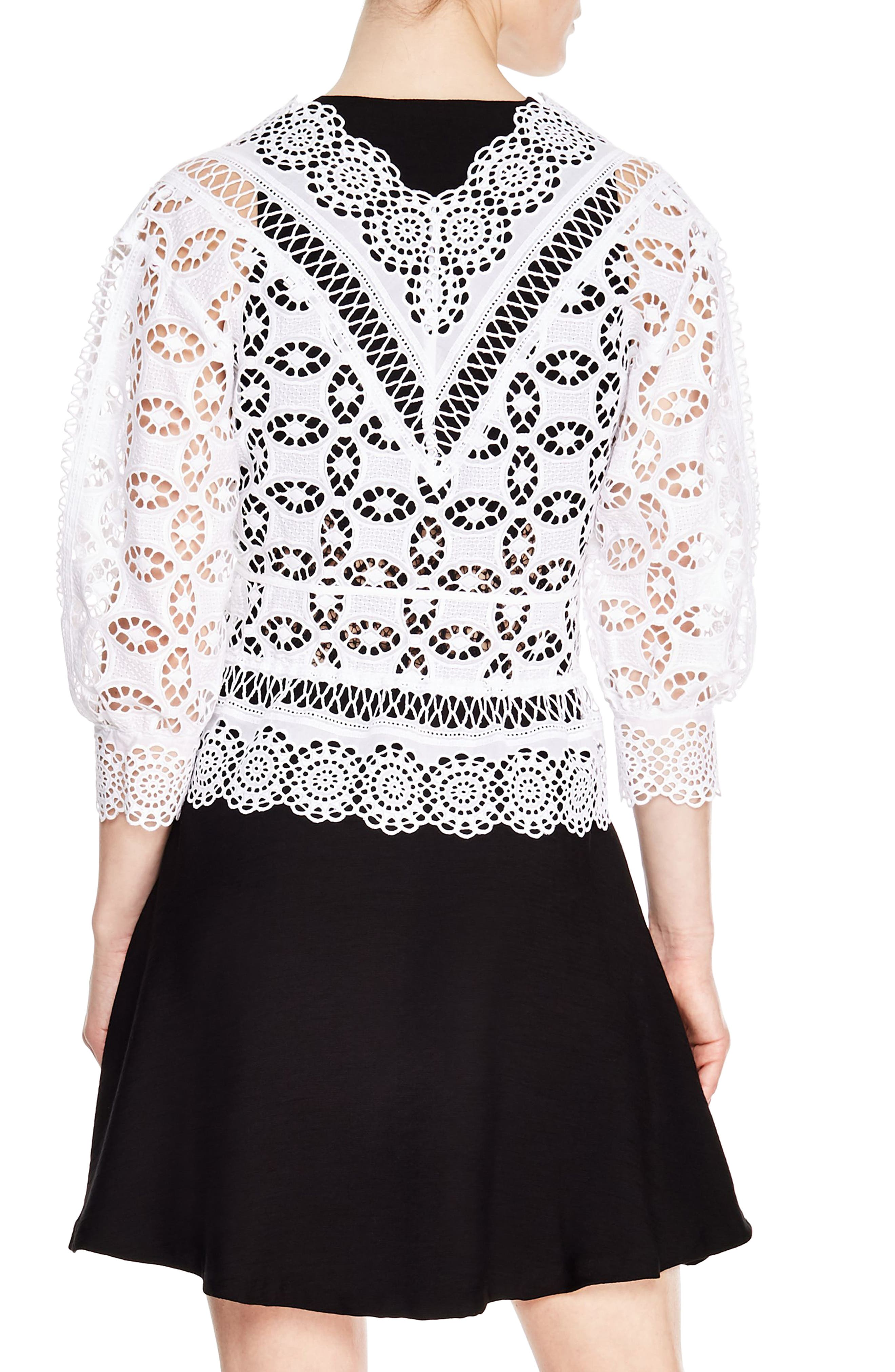 Paula Crochet Top,                             Alternate thumbnail 2, color,                             WHITE