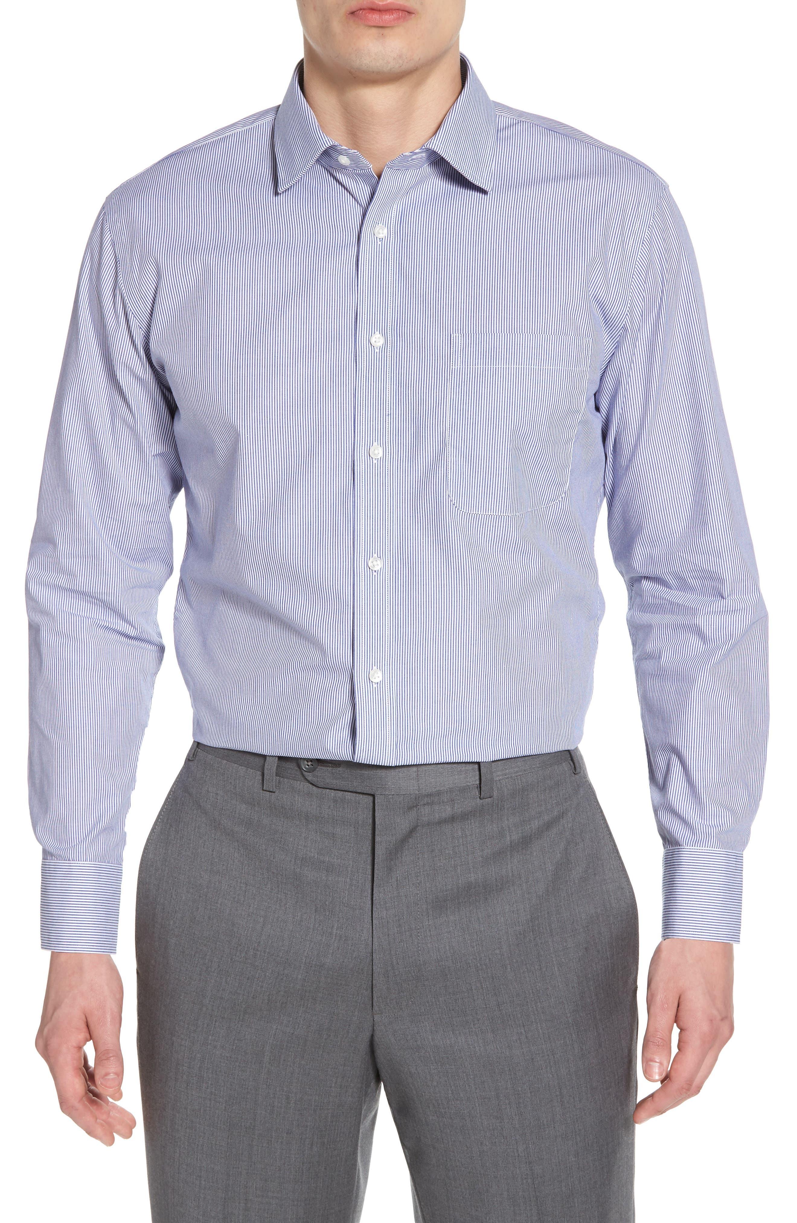 Trim Fit Non-Iron Stripe Dress Shirt,                             Main thumbnail 2, color,