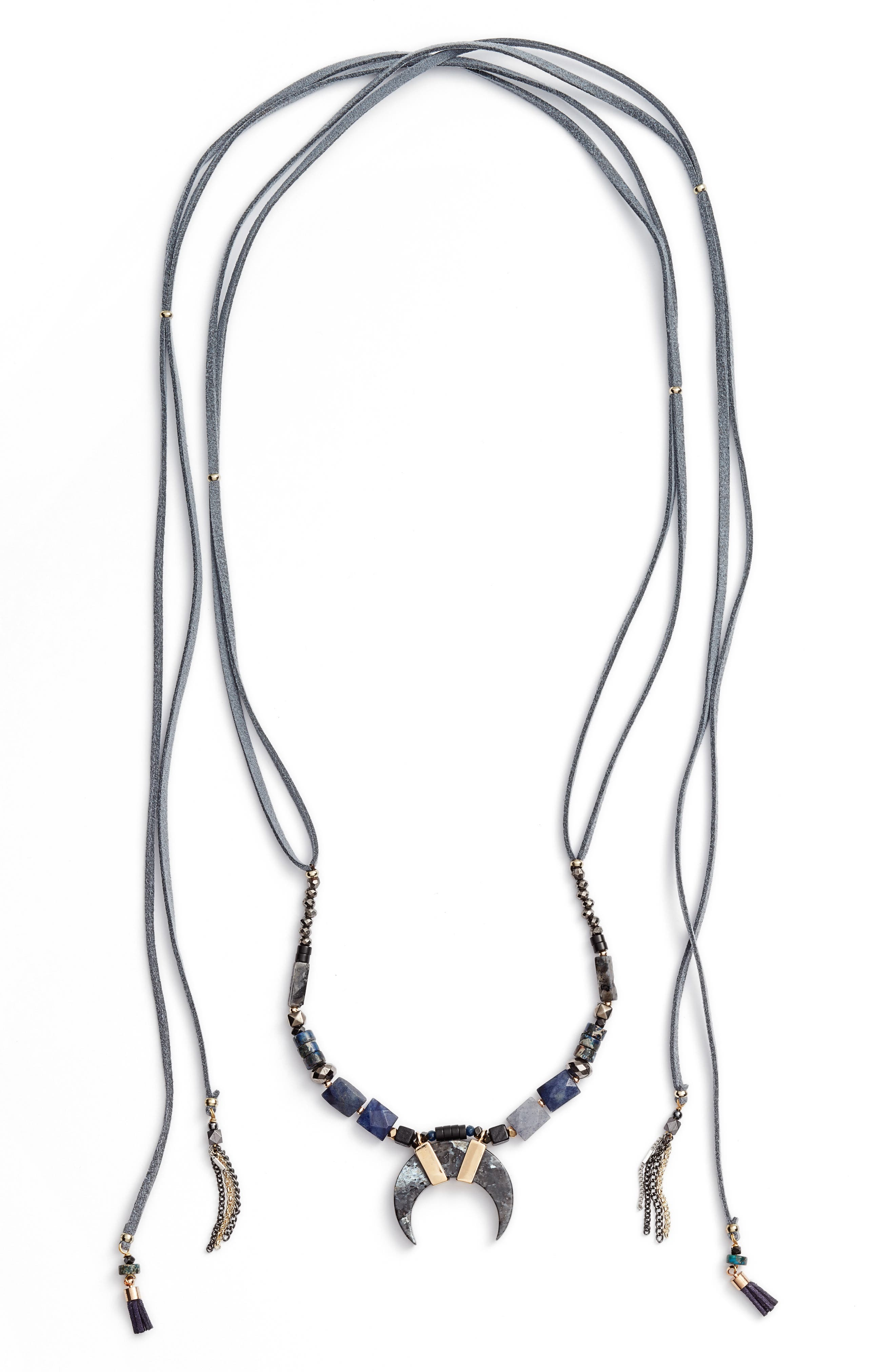 Umangi Lariat Necklace with Agate Pendant,                             Alternate thumbnail 2, color,