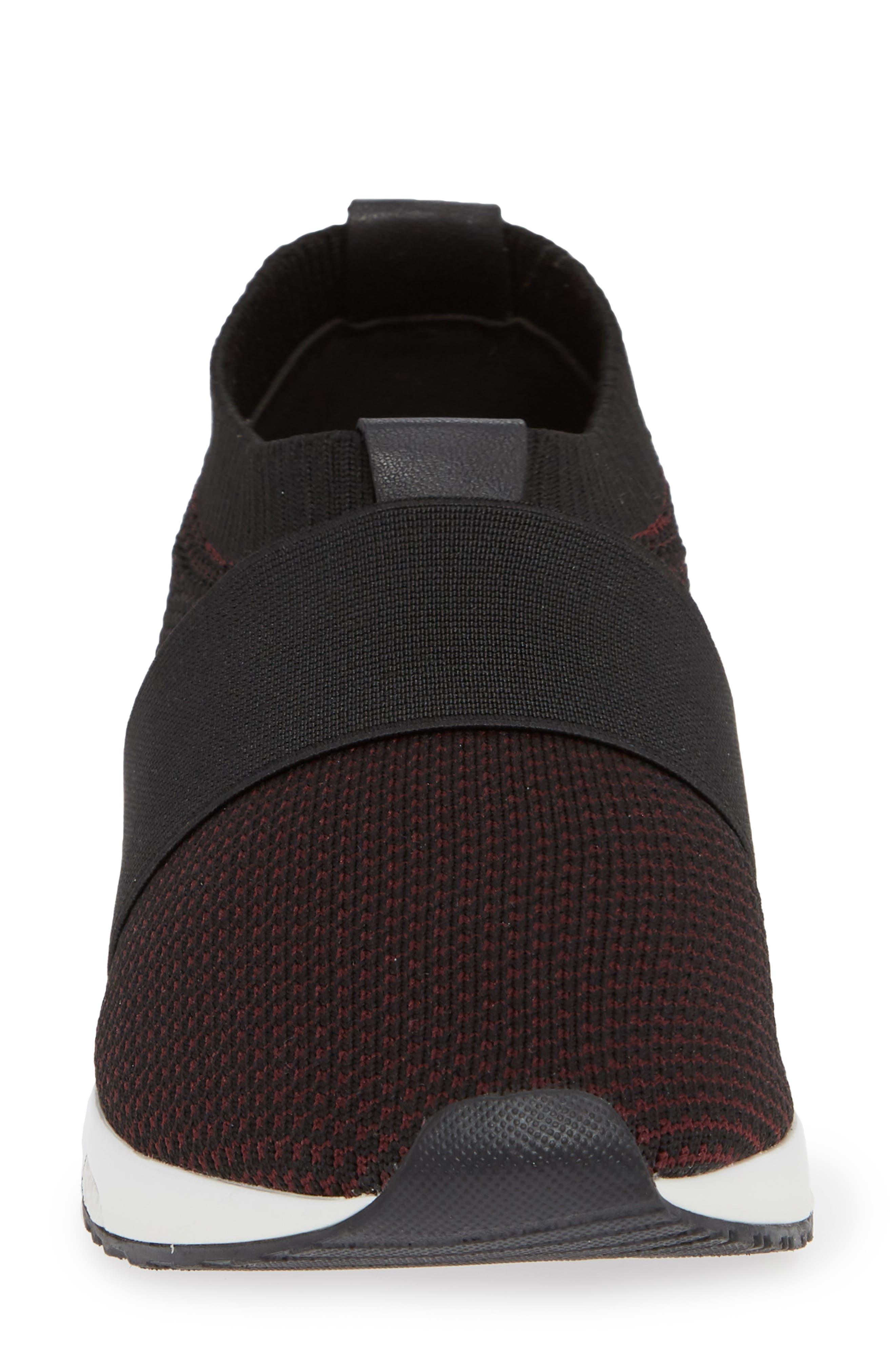 Brooke Slip-On Sneaker,                             Alternate thumbnail 4, color,                             BLACK/ WINE KNIT FABRIC