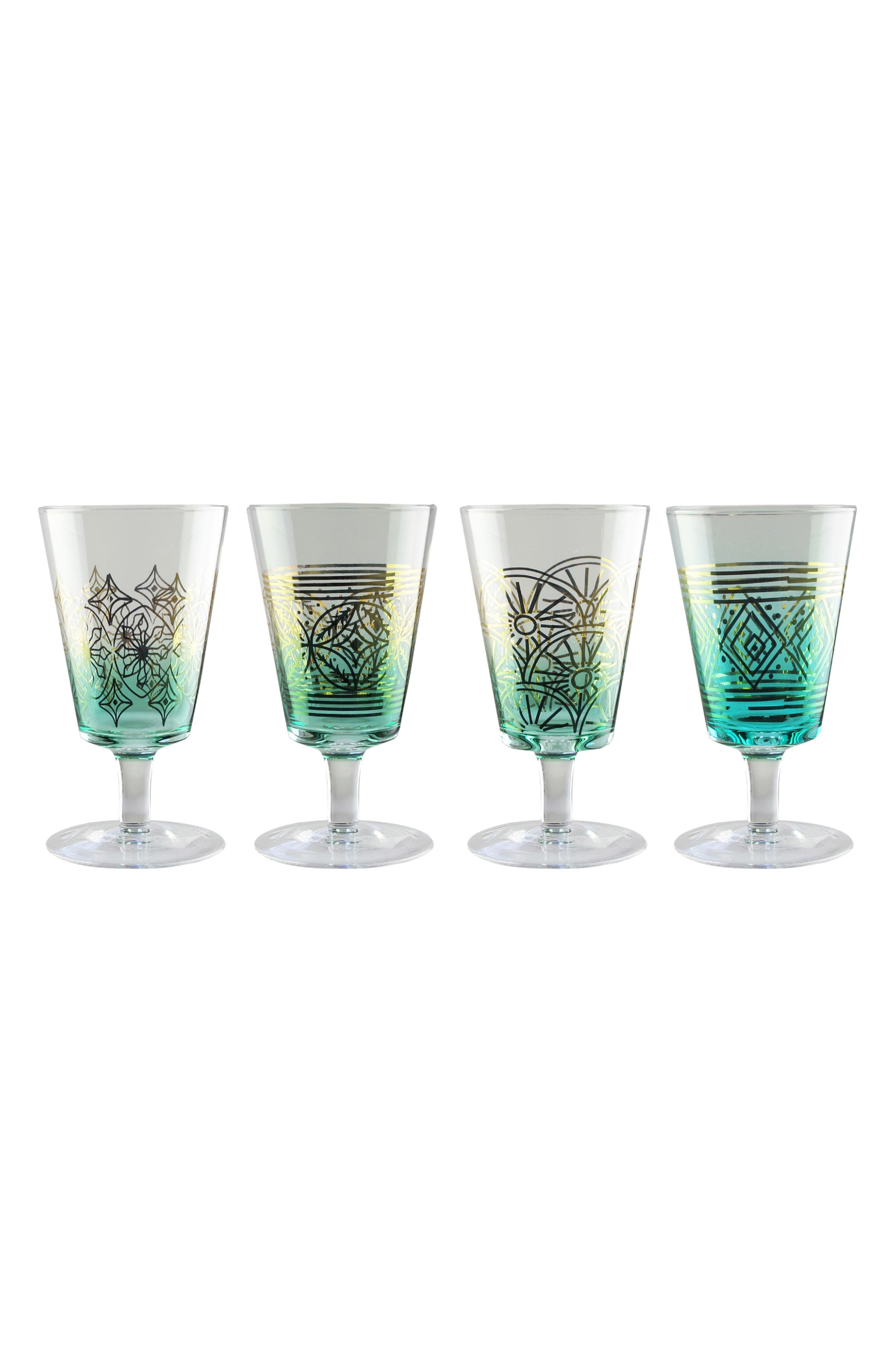 Soirée Set of 4 Wine Glasses, Main, color, TEAL/ GOLD