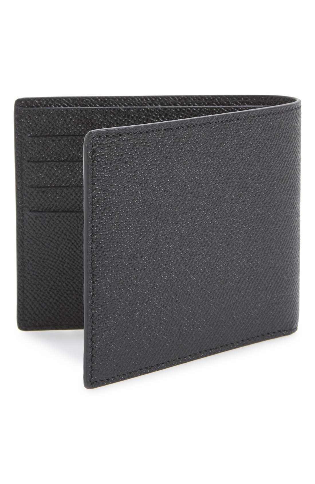 Calfskin Leather Bifold Wallet,                             Alternate thumbnail 6, color,                             BLACK
