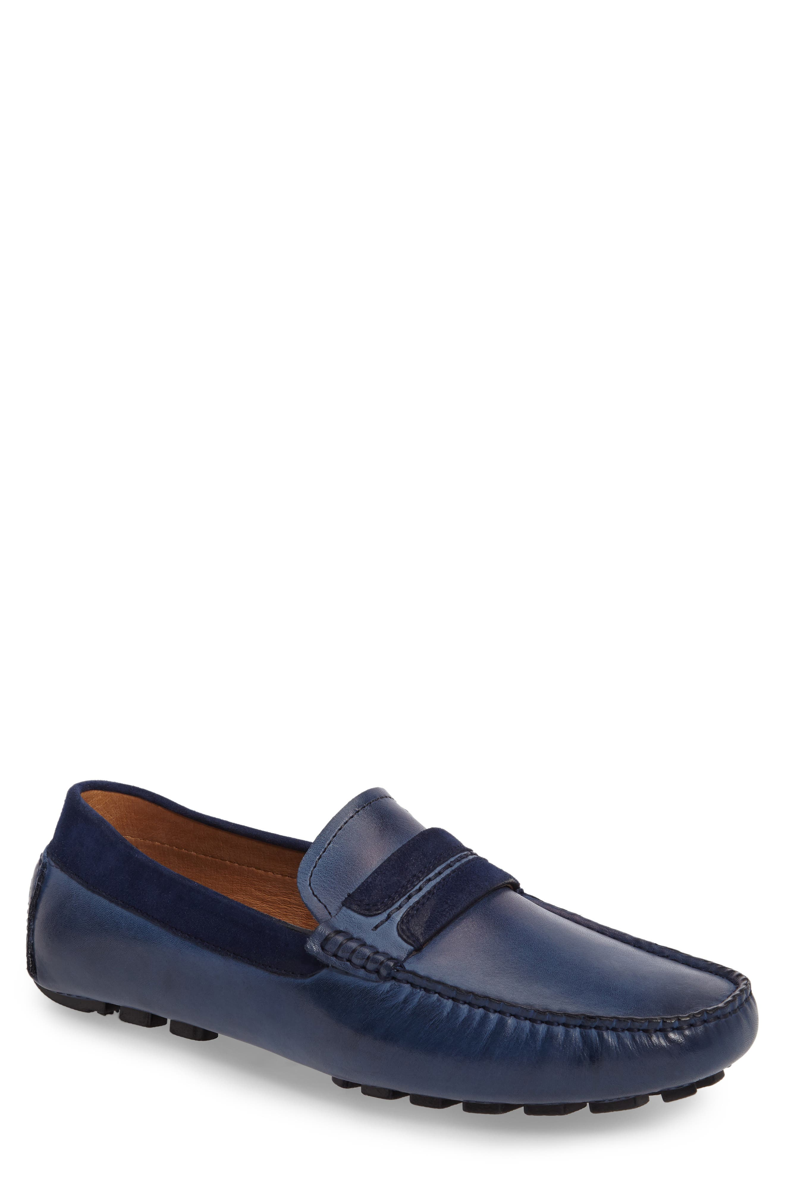 ZANZARA Francesca Driving Shoe, Main, color, BLUE LEATHER