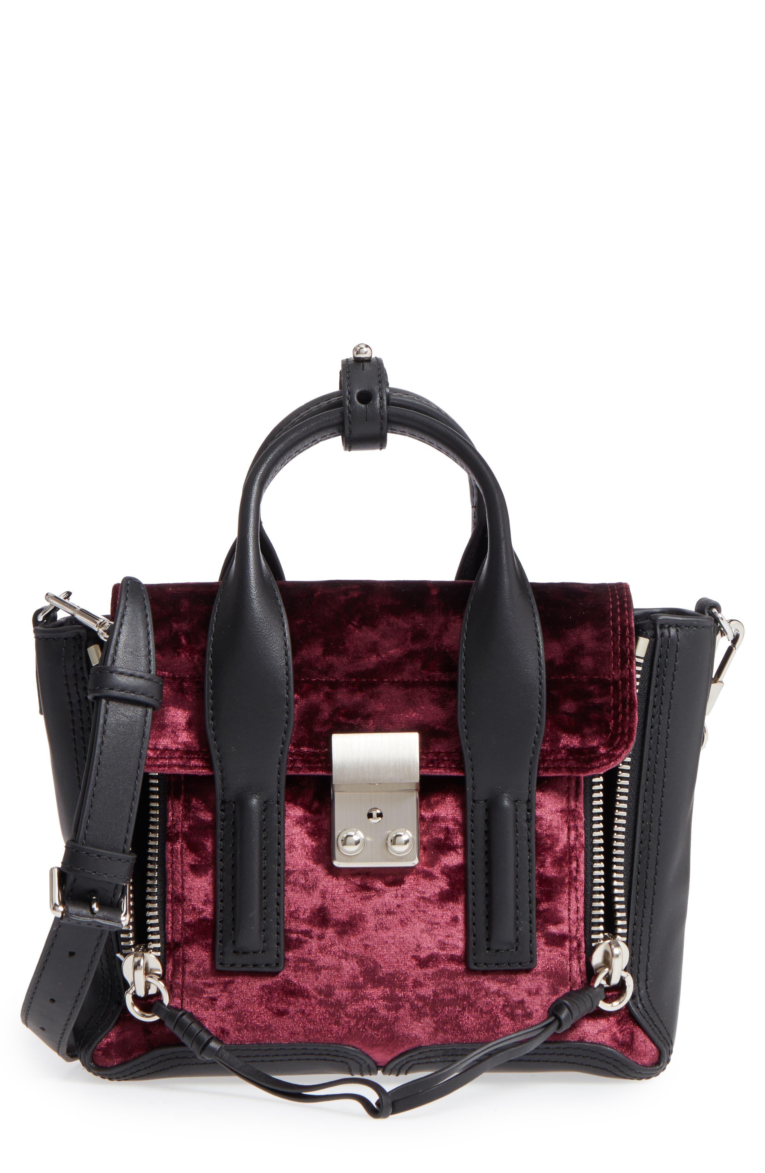 Mini Pashli Velvet & Leather Satchel,                         Main,                         color, 670