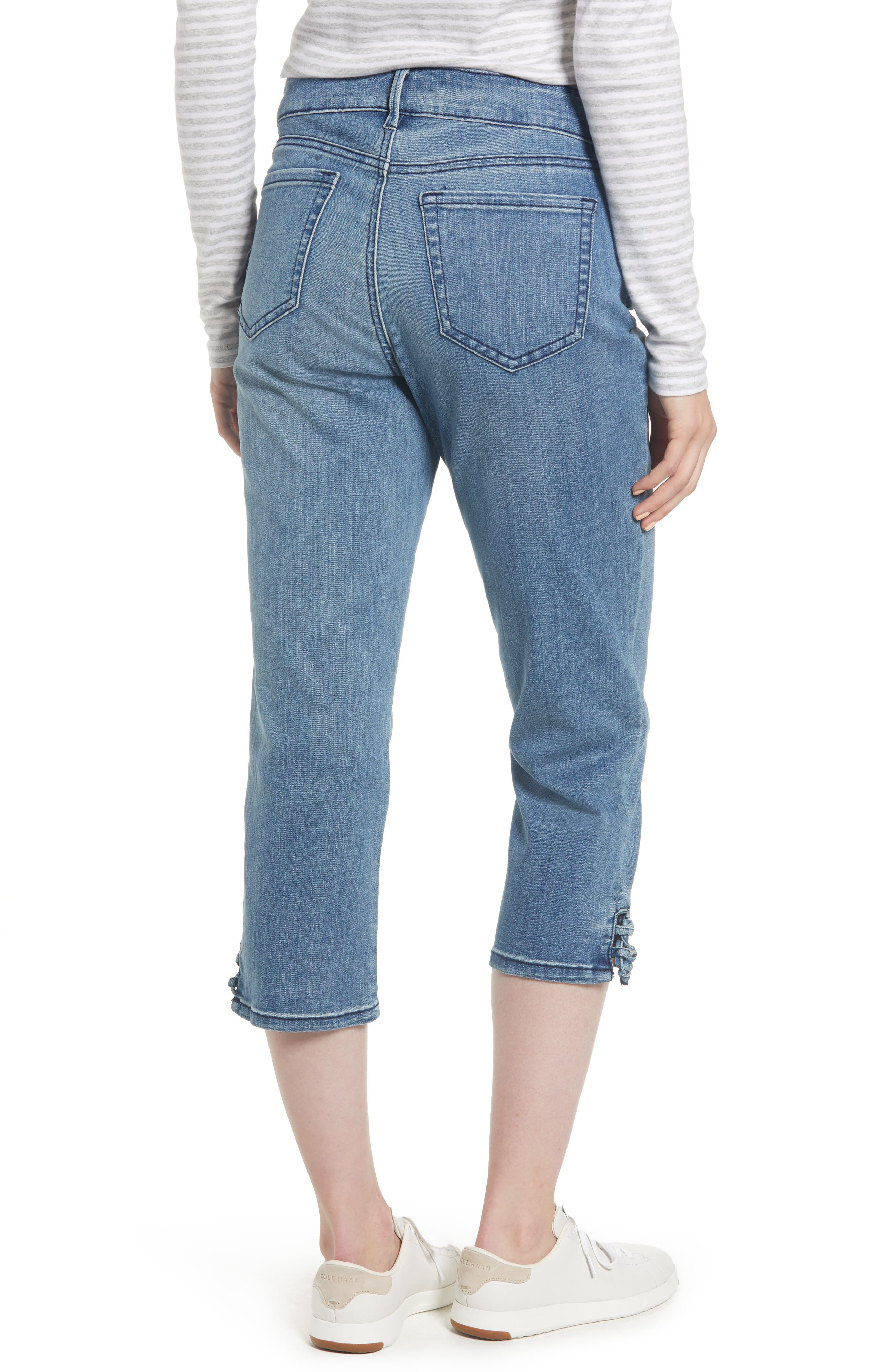 High Waist Lace Up Hem Capri Jeans,                             Alternate thumbnail 2, color,                             417