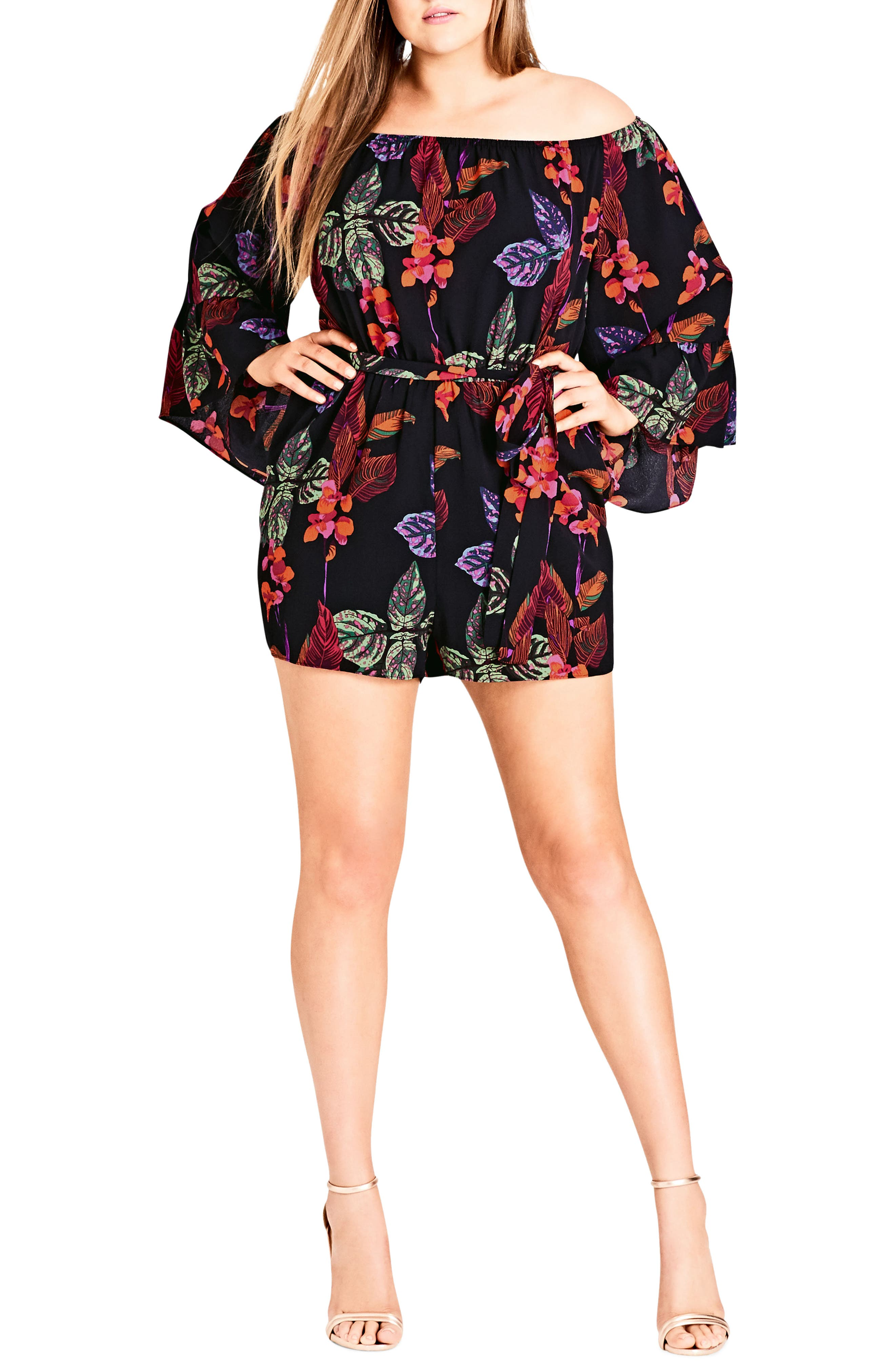 Jungle Fun Bell Sleeve Romper,                         Main,                         color, 001