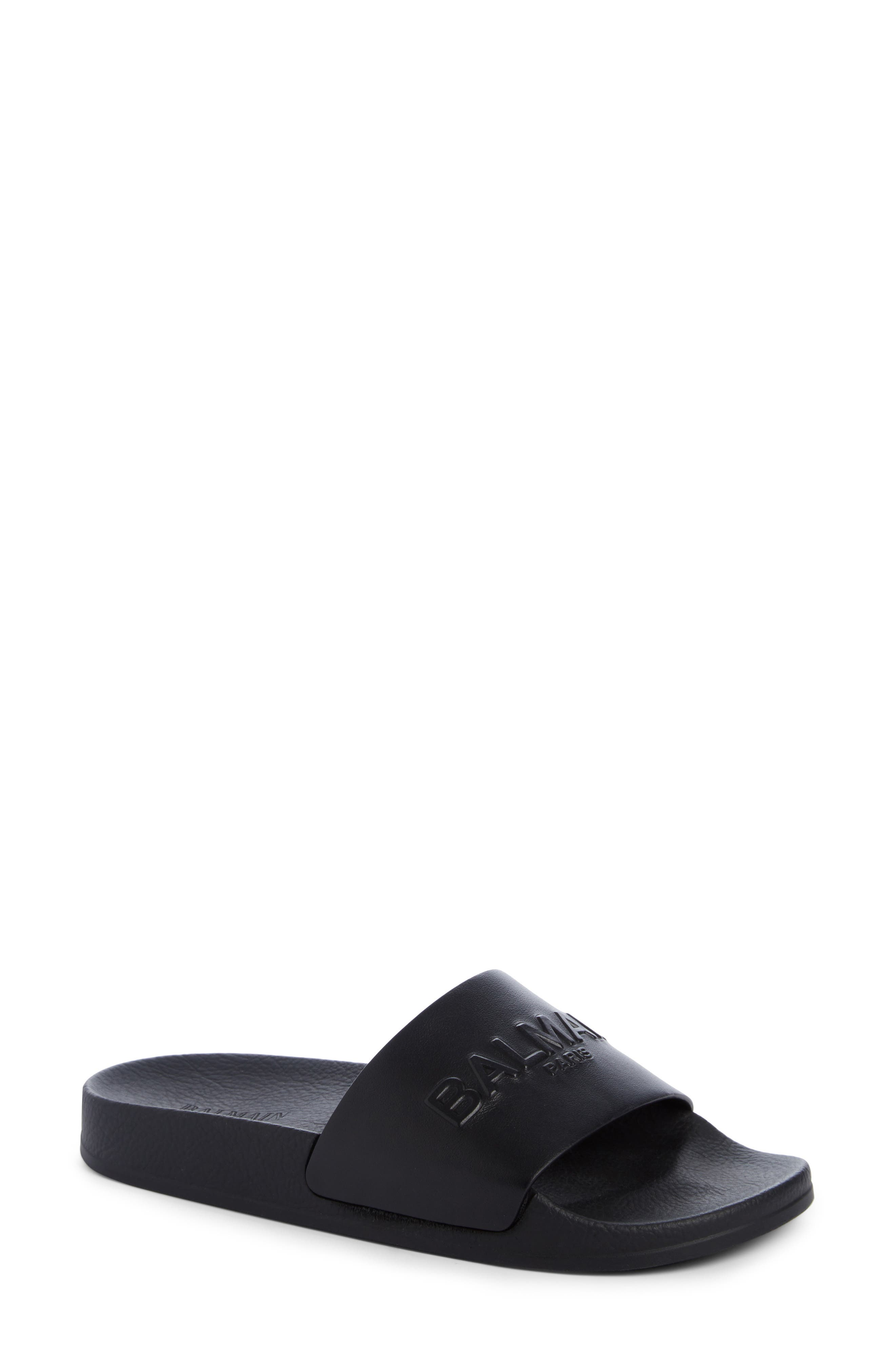 Calypso Logo Strap Slide Sandal,                             Main thumbnail 1, color,                             BLACK