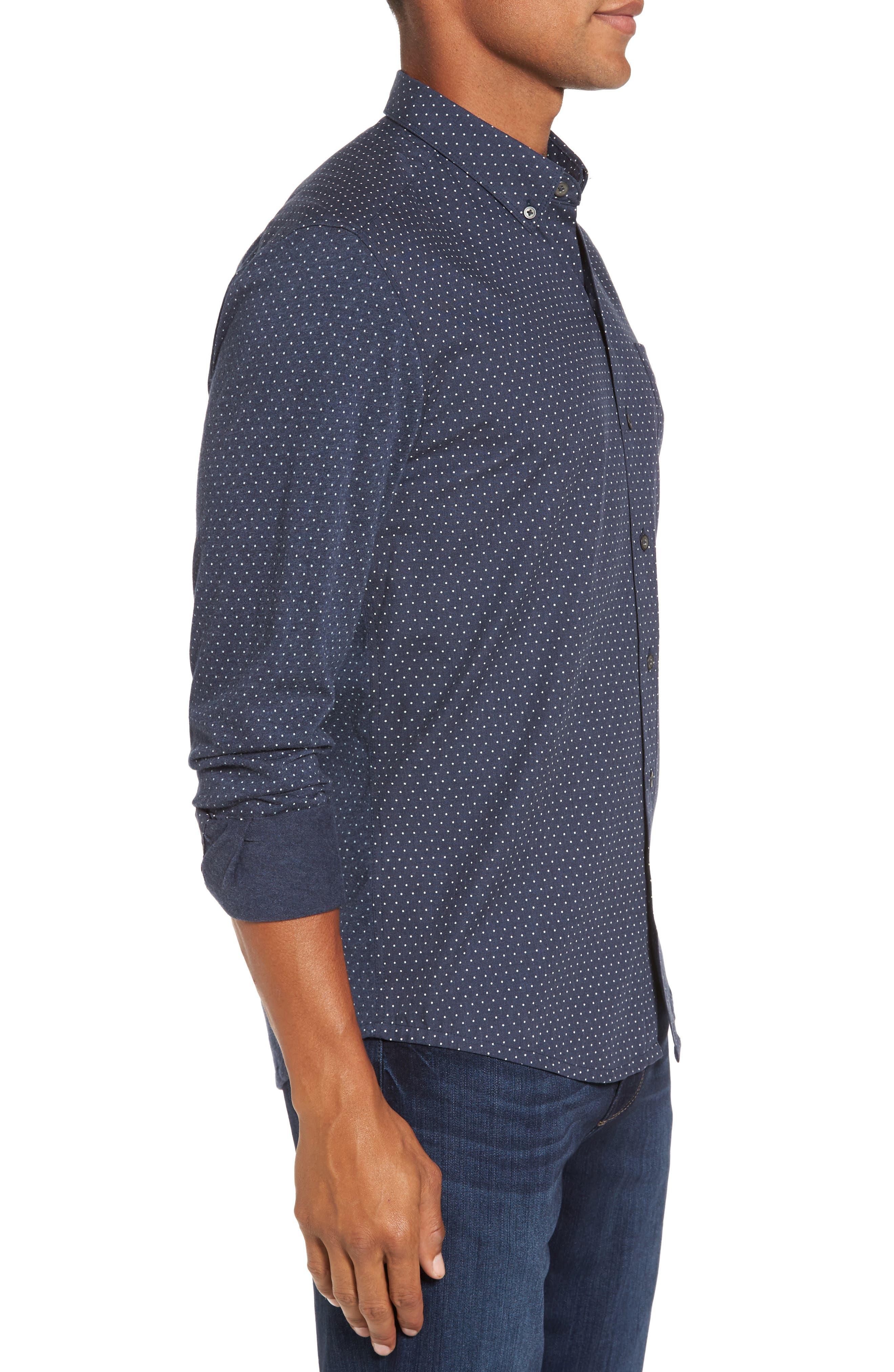 'Reworkd' Trim Fit Dot Print Mixed Media Sport Shirt,                             Alternate thumbnail 10, color,