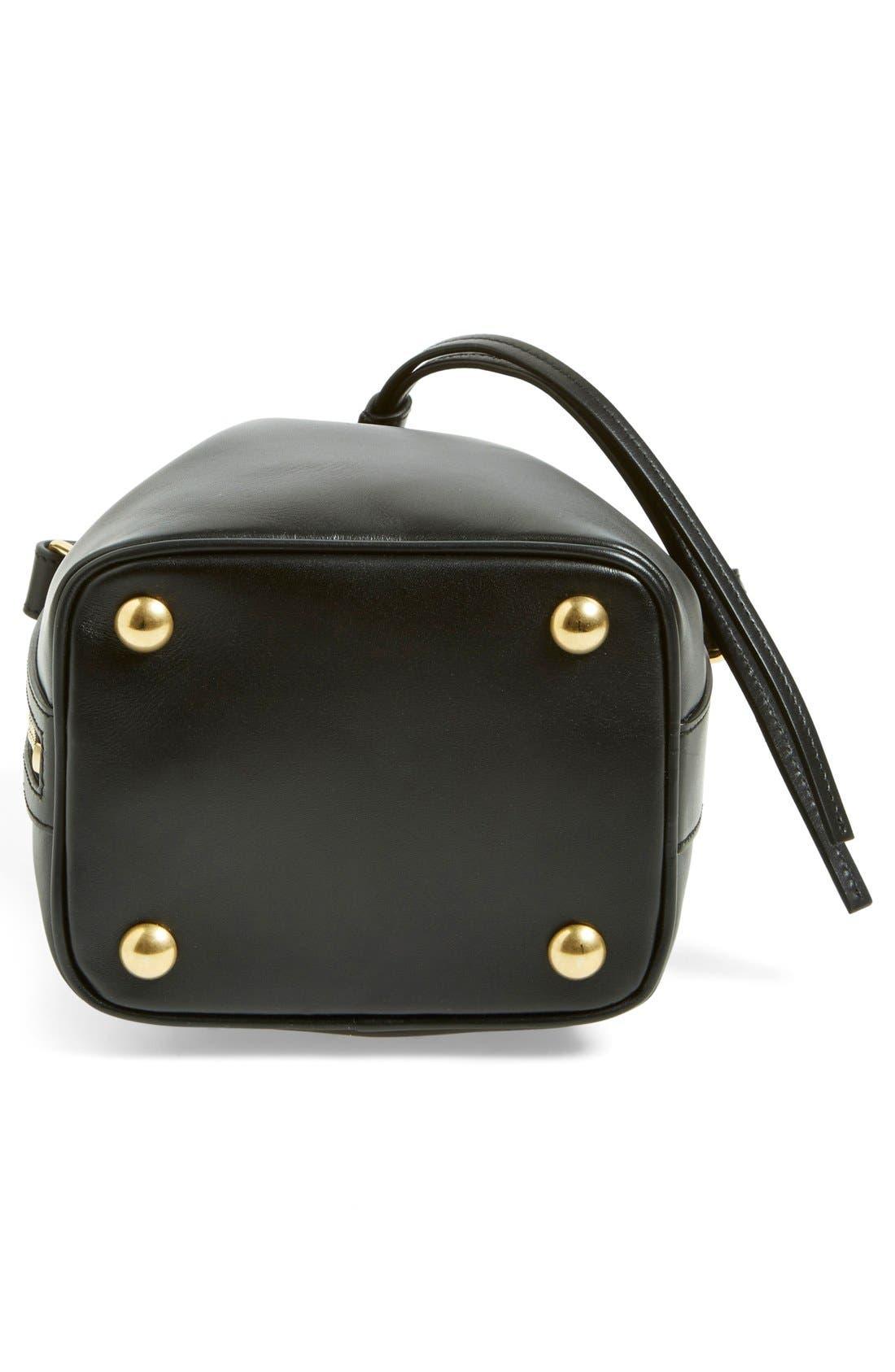 'Small' Calfskin Leather Bucket Bag,                             Alternate thumbnail 3, color,                             001