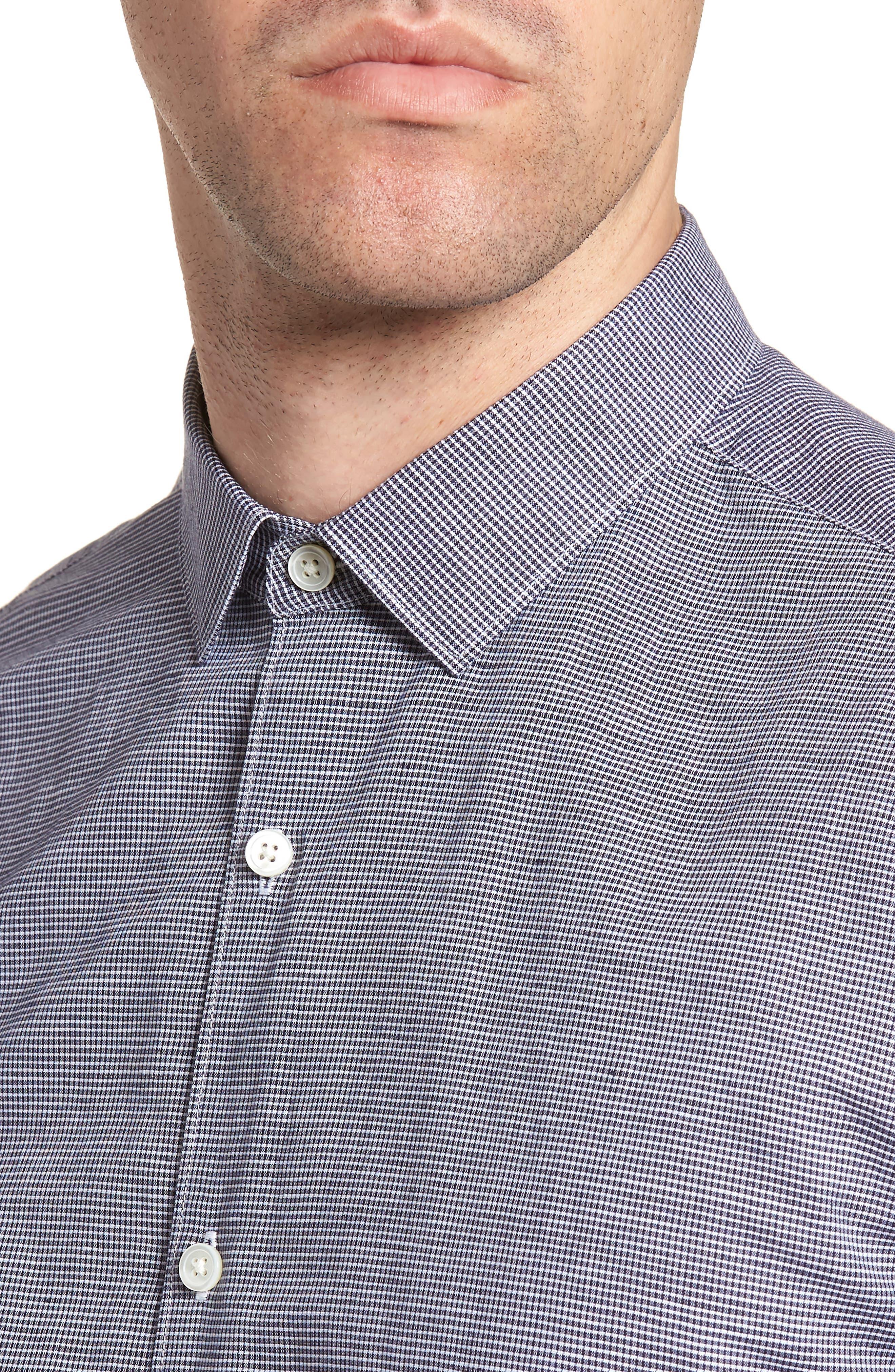 Murrary Trim Fit Check Linen & Cotton Sport Shirt,                             Alternate thumbnail 4, color,                             400