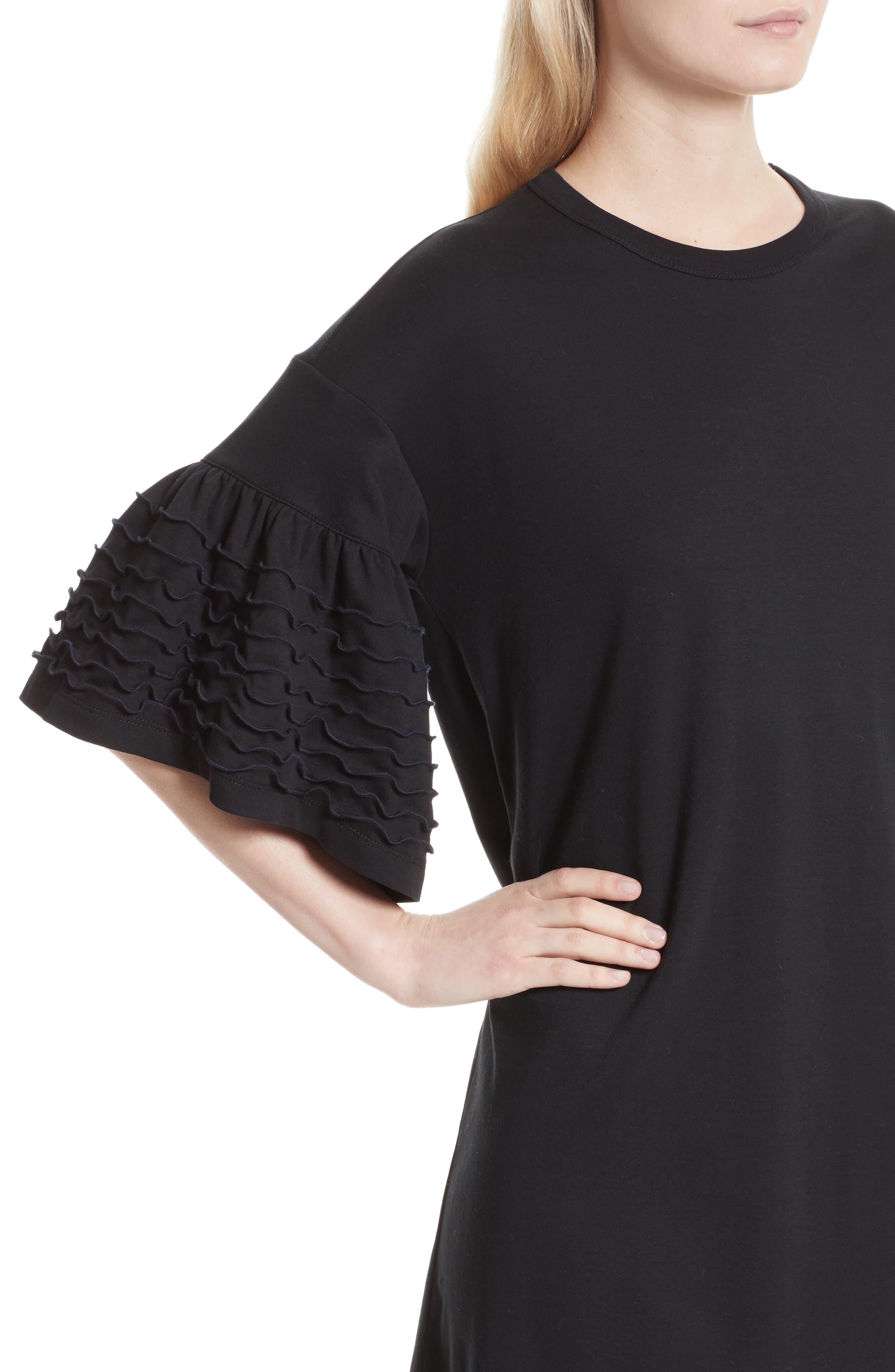Ruffle Sleeve Cotton Shift Dress,                             Alternate thumbnail 4, color,                             001