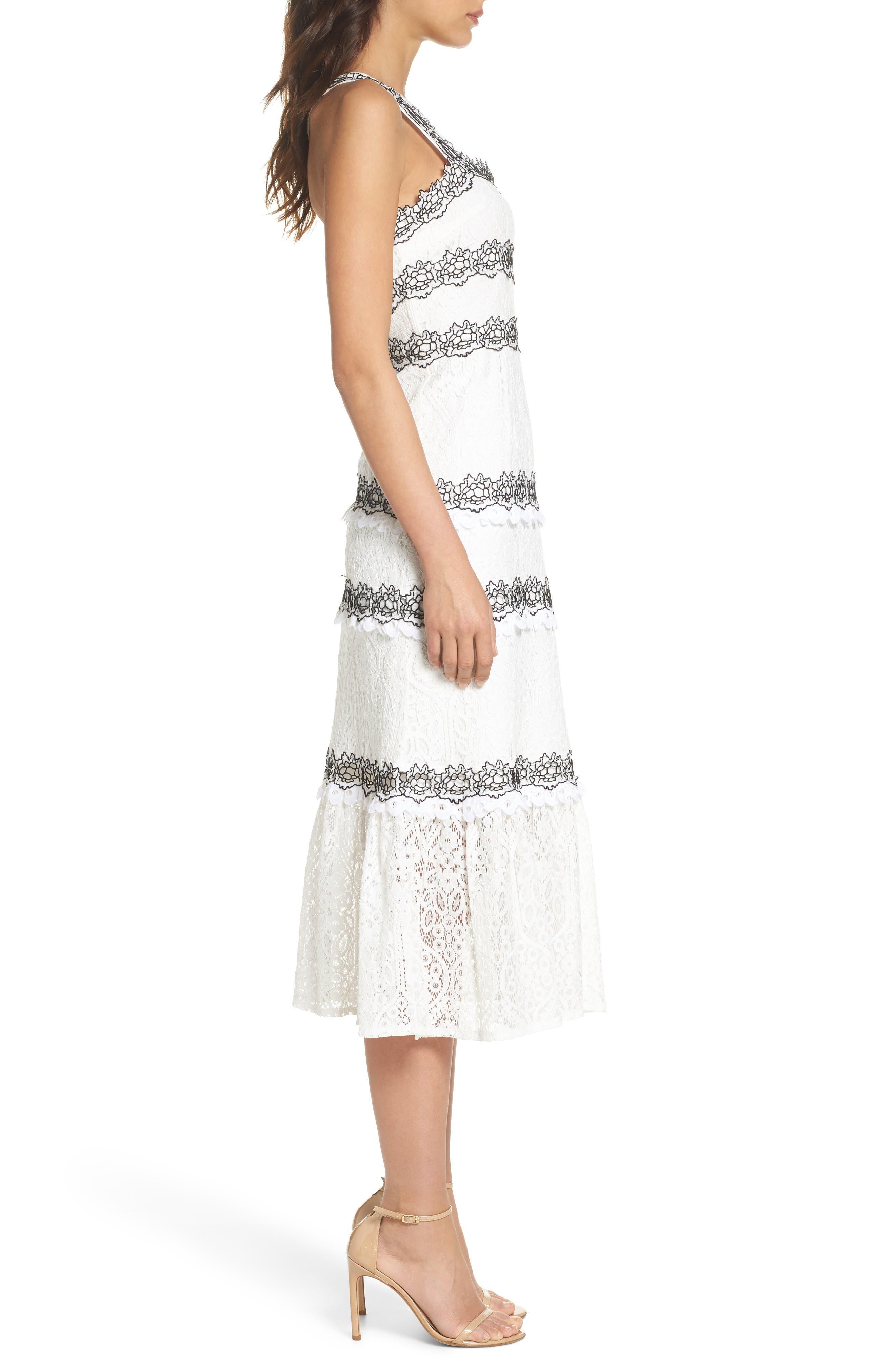 Frances Embroidered Lace Midi Dress,                             Alternate thumbnail 3, color,                             102