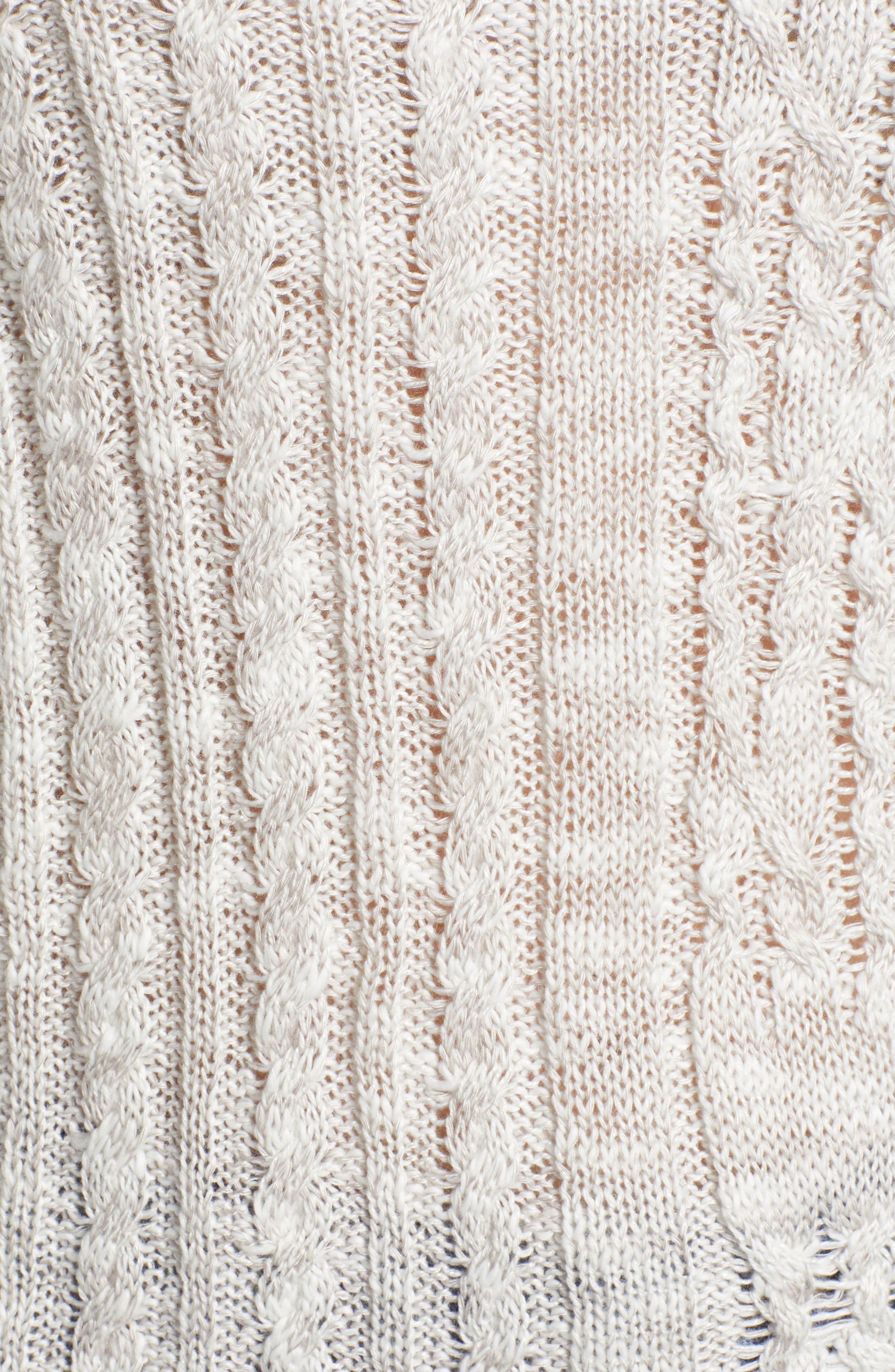 Cable Knit Hoodie,                             Alternate thumbnail 5, color,                             LIGHT GREY