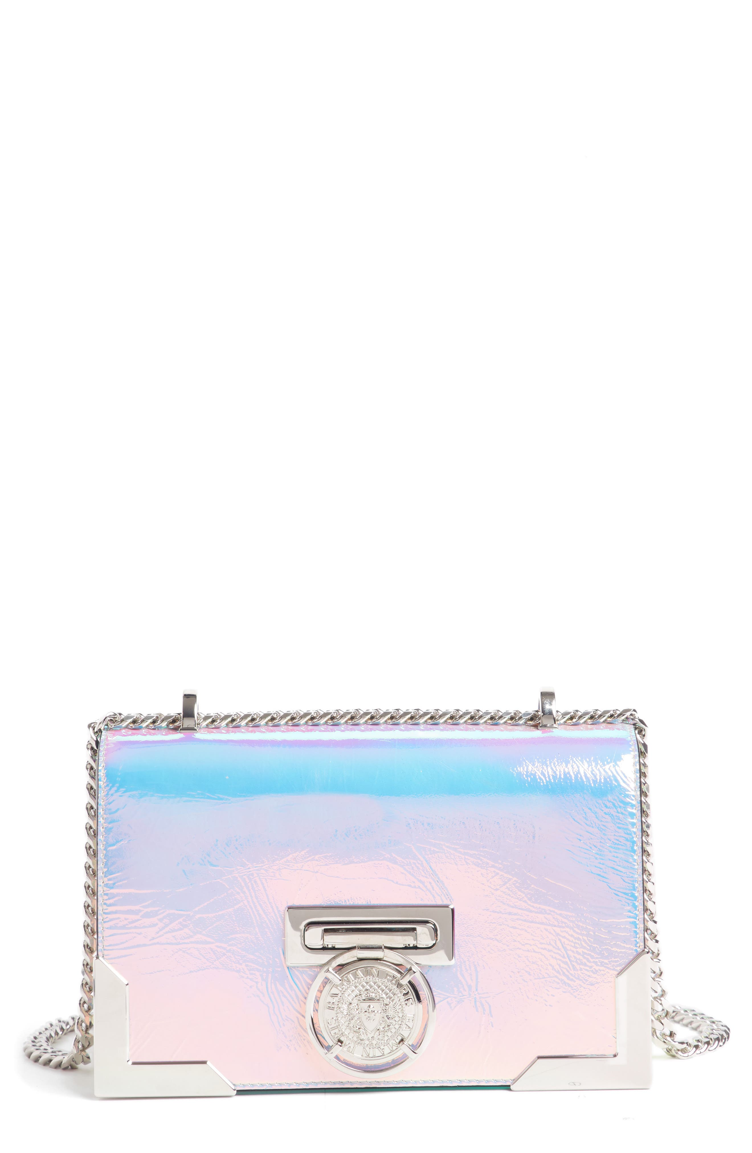 BALMAIN Baby Box Holographic Leather Shoulder Bag, Main, color, 650