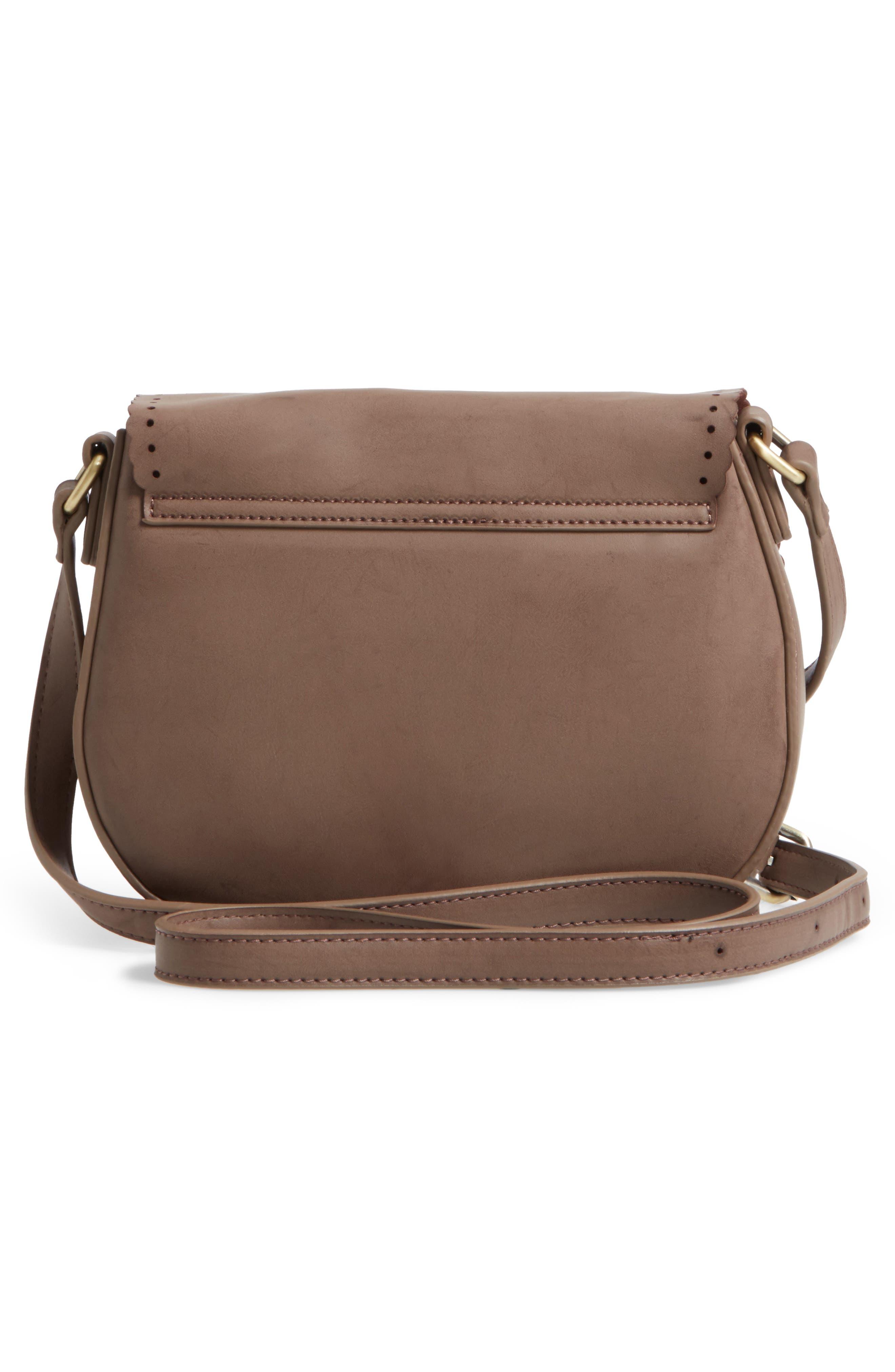 Dakota Faux Leather Saddle Bag,                             Alternate thumbnail 3, color,                             022