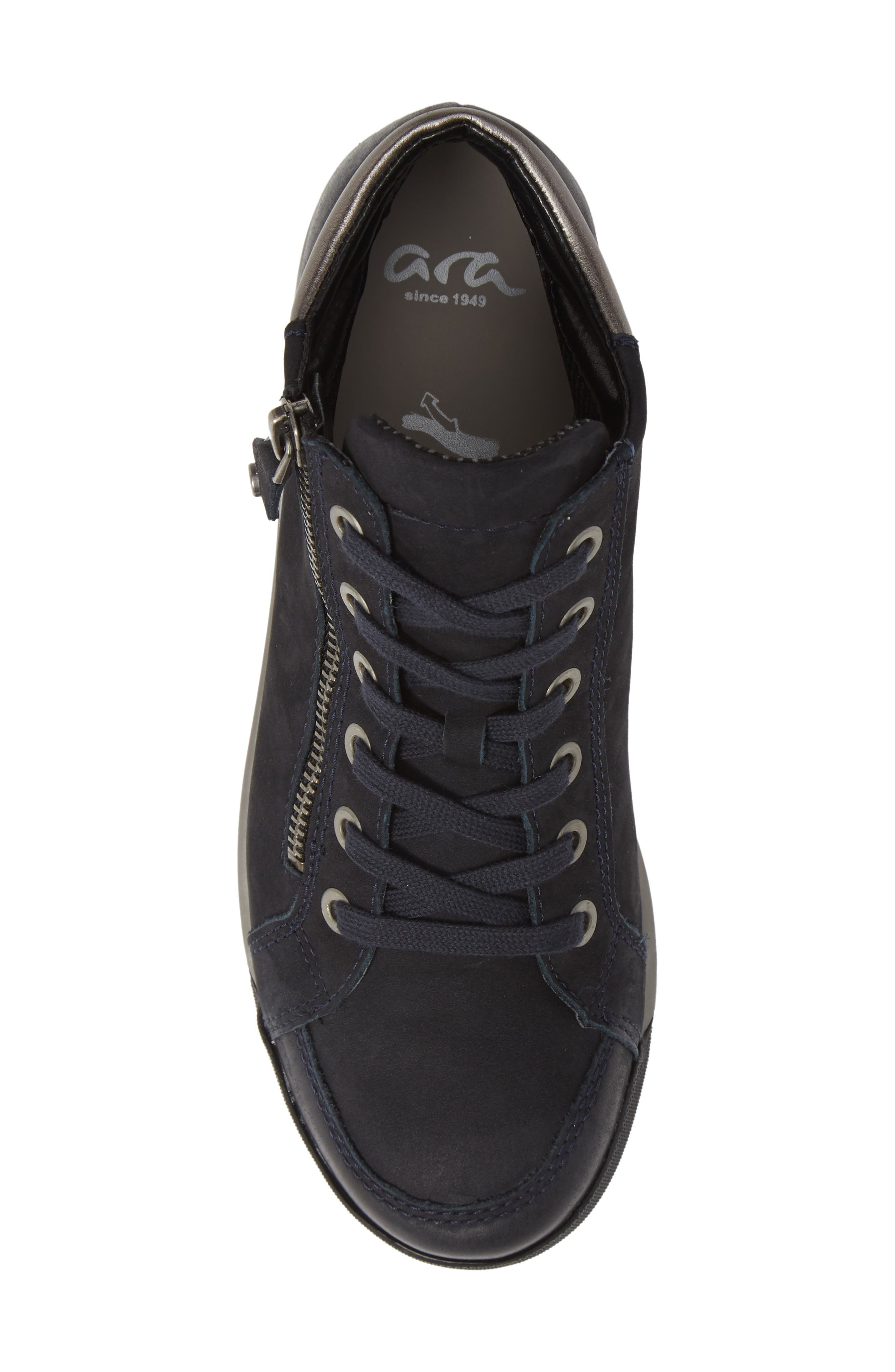 Rylee High Top Sneaker,                             Alternate thumbnail 5, color,                             BLUE NUBUCK LEATHER