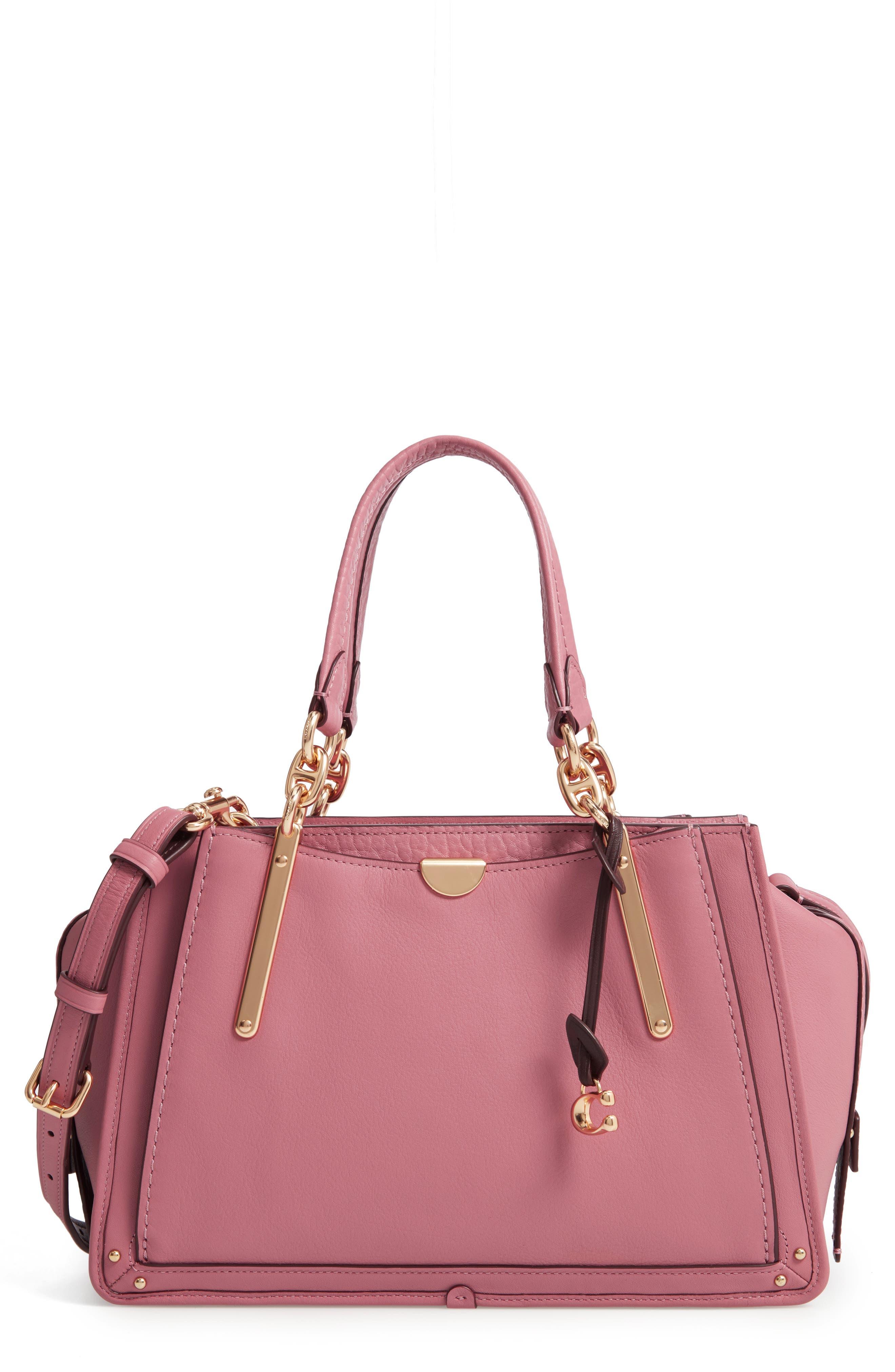 Dreamer Leather Handbag,                             Main thumbnail 1, color,                             ROSE MULTI