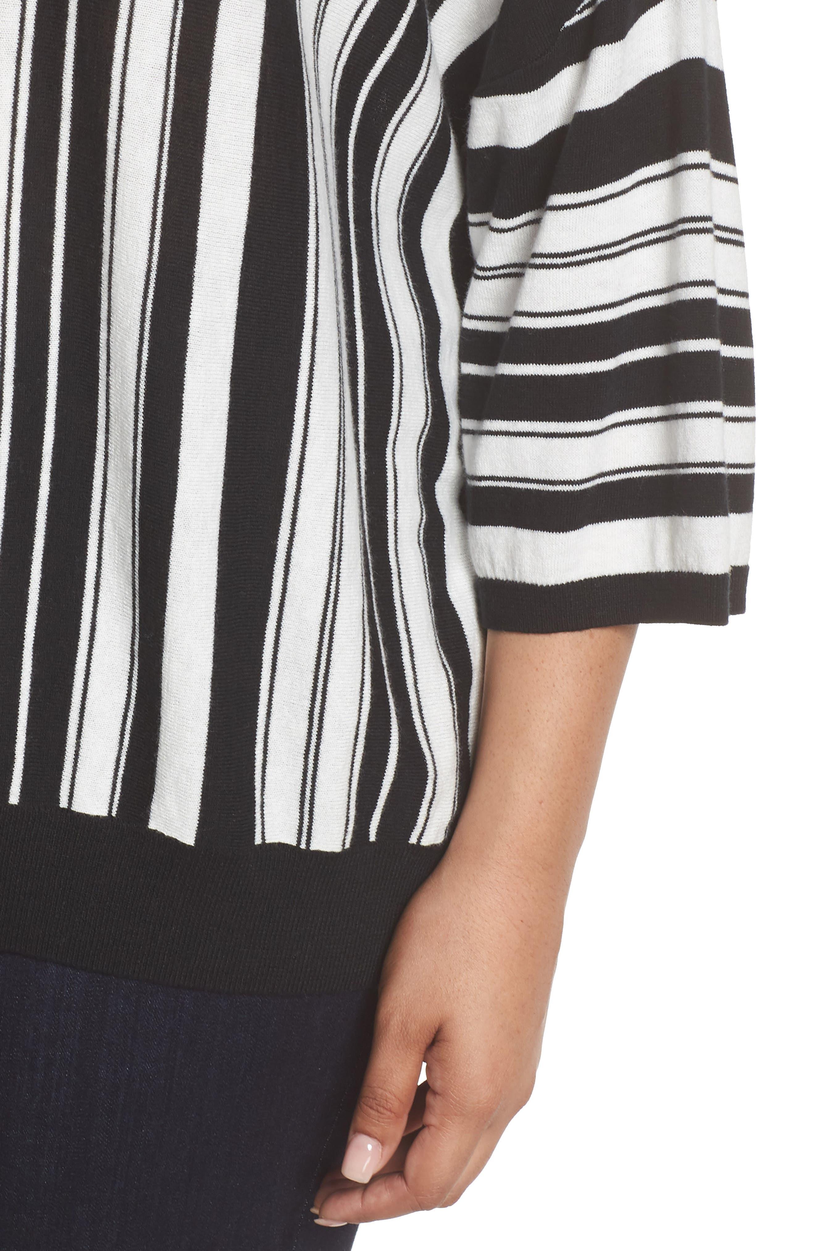 Stripe Pullover,                             Alternate thumbnail 4, color,                             BLACK- WHITE FIERCE STRIPE