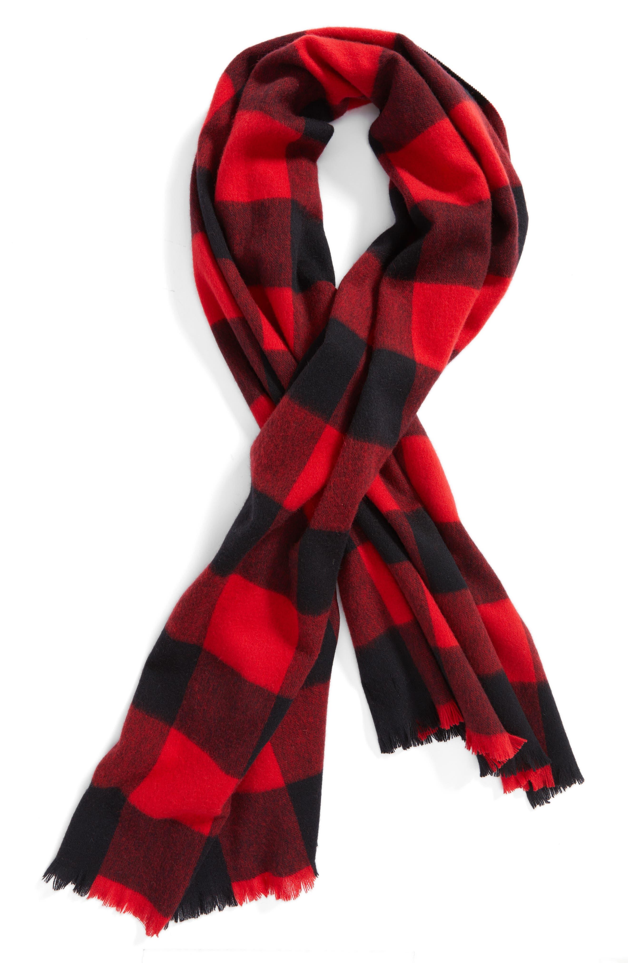 mega check wool scarf,                             Alternate thumbnail 4, color,