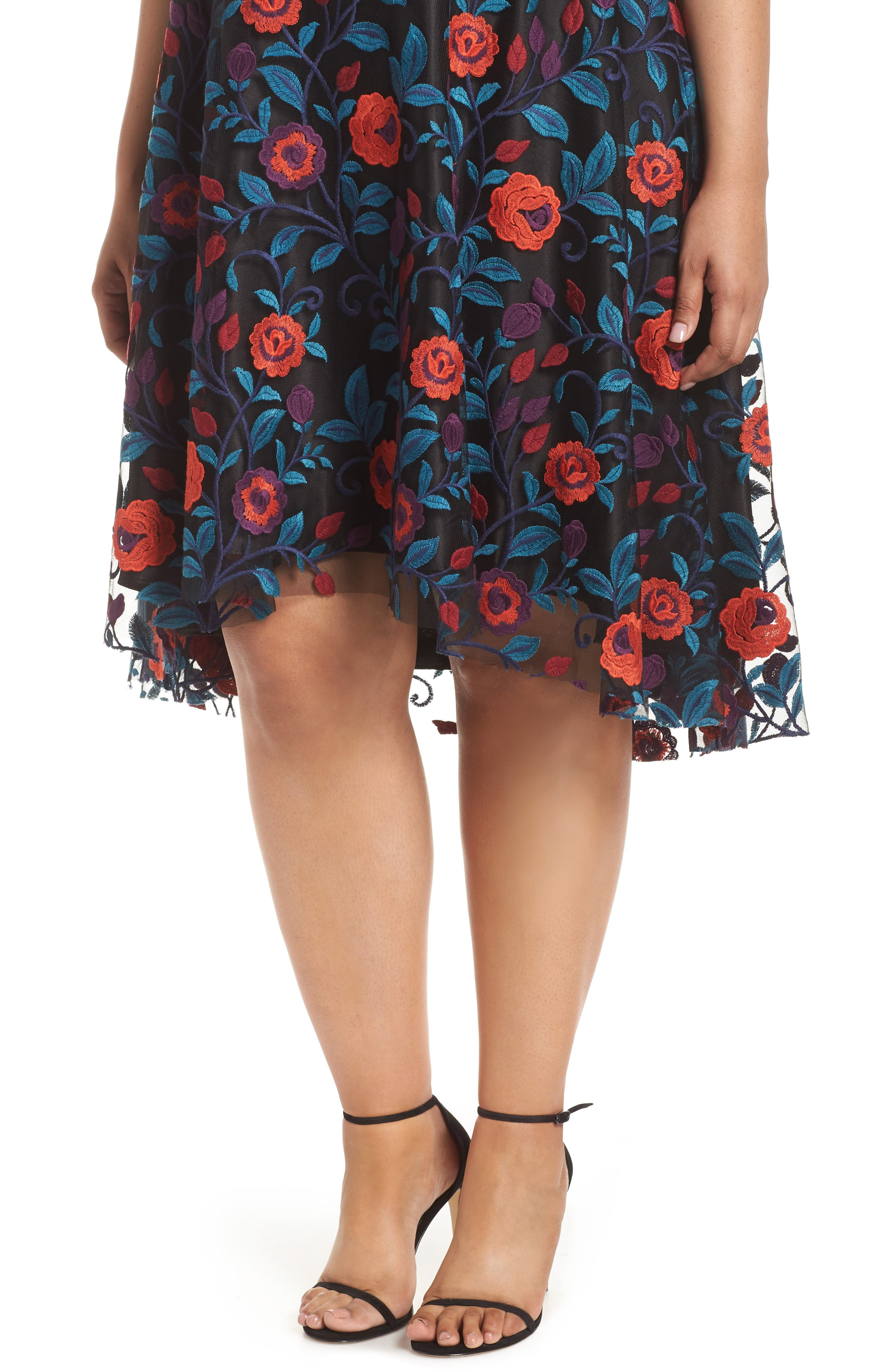 Floral Embroidery Fit and Flare Dress,                             Alternate thumbnail 4, color,                             648