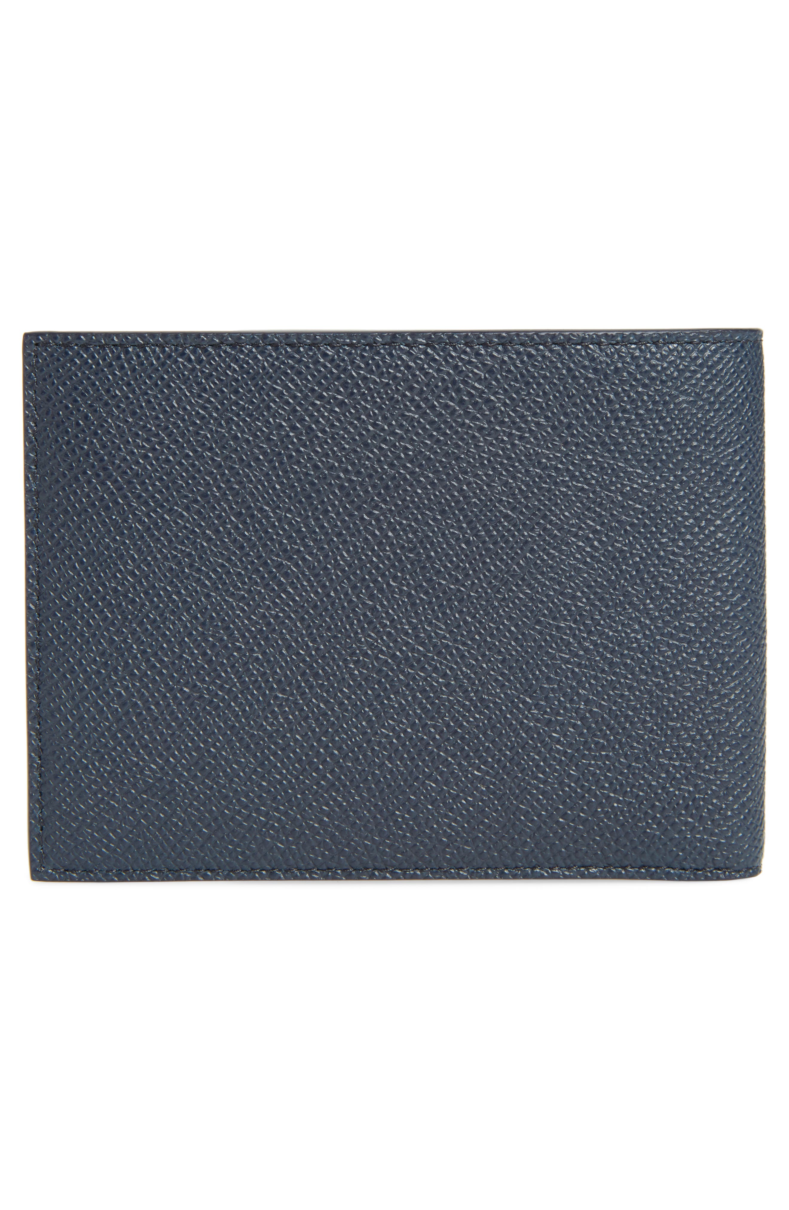 Eros Textured Leather Wallet,                             Alternate thumbnail 3, color,                             NAVY