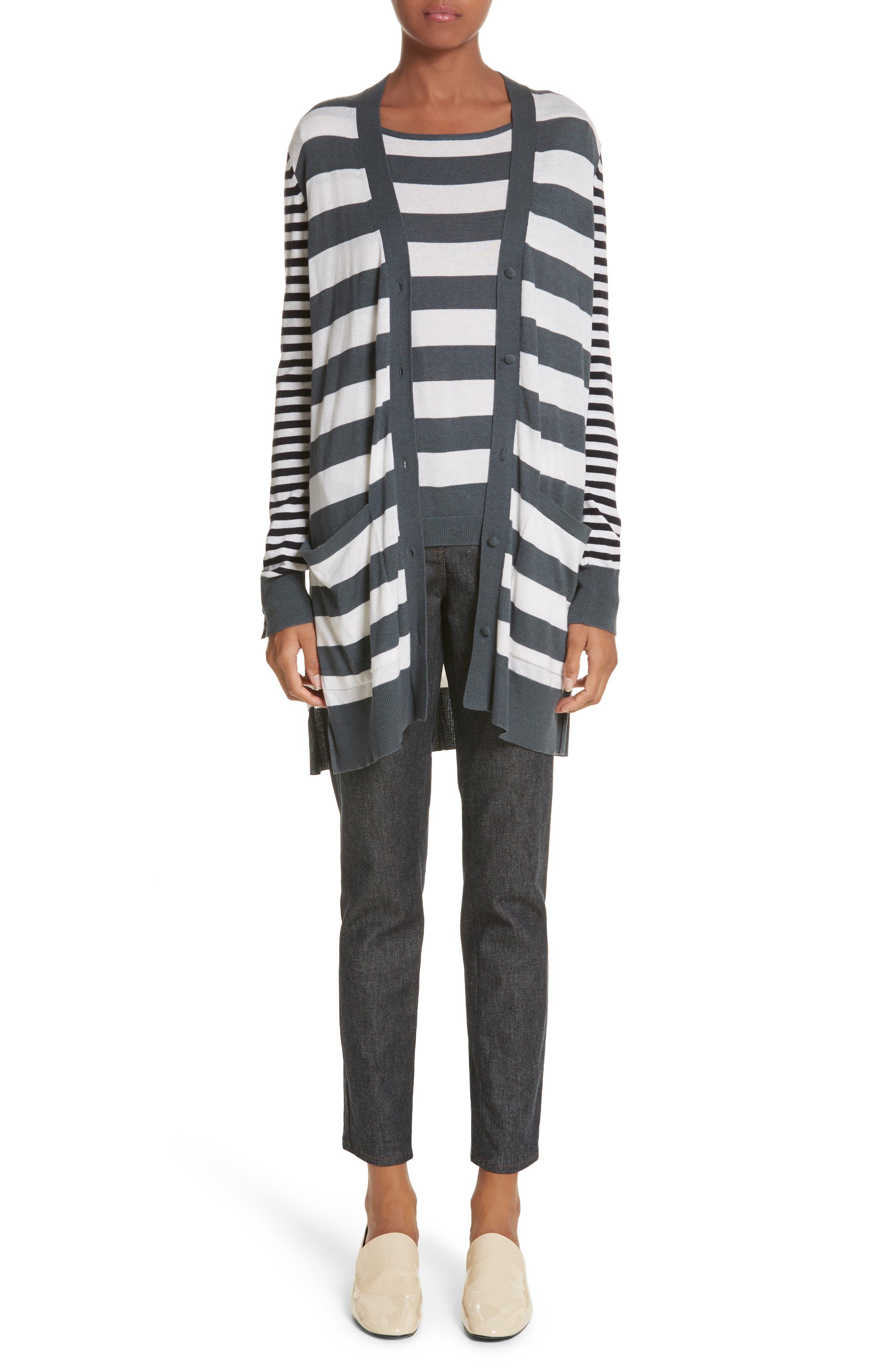 Etiopia Stripe Silk & Cashmere Cardigan,                             Alternate thumbnail 7, color,                             054