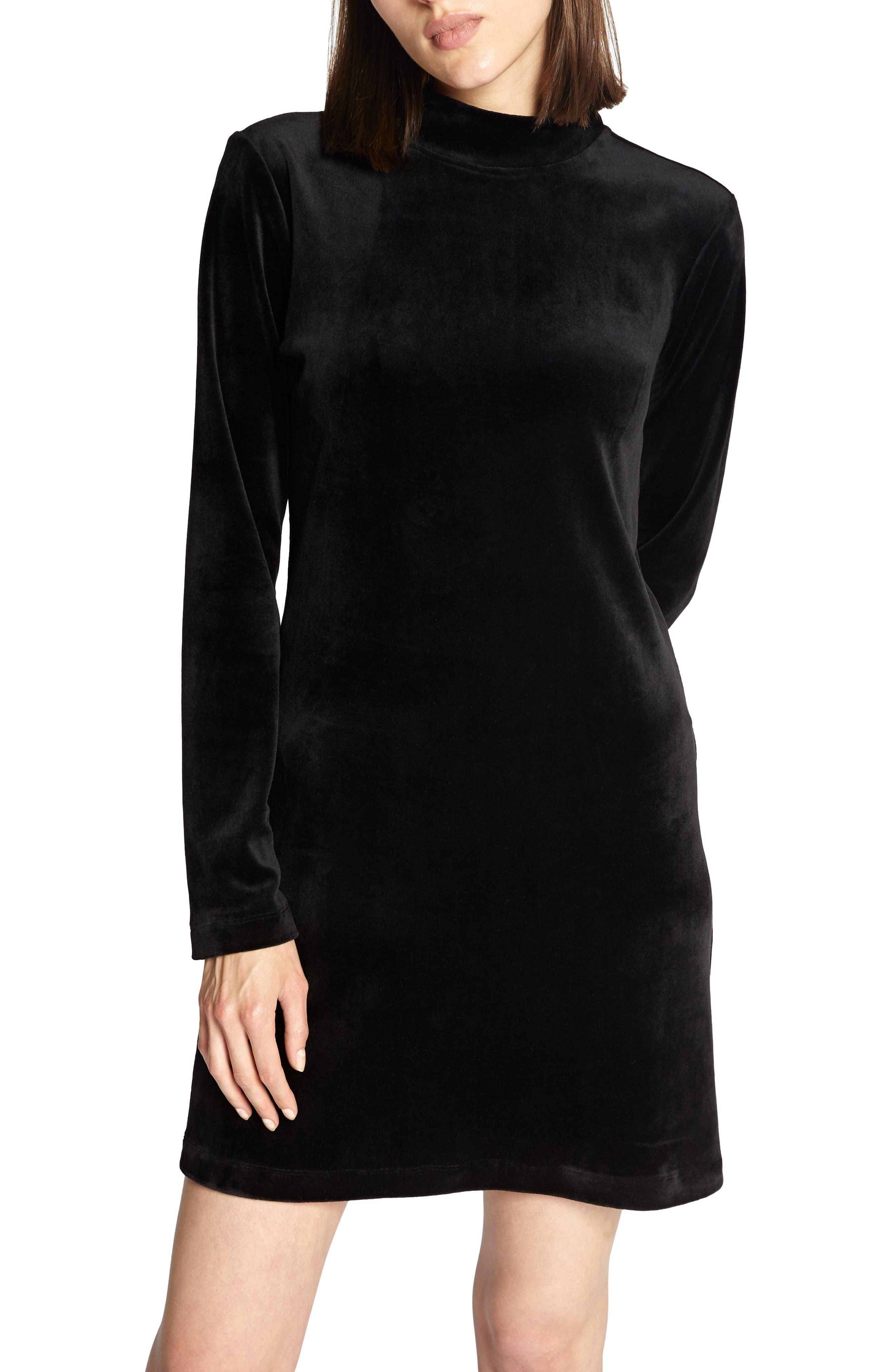 petite women's sanctuary endless night velour dress, size large p - black