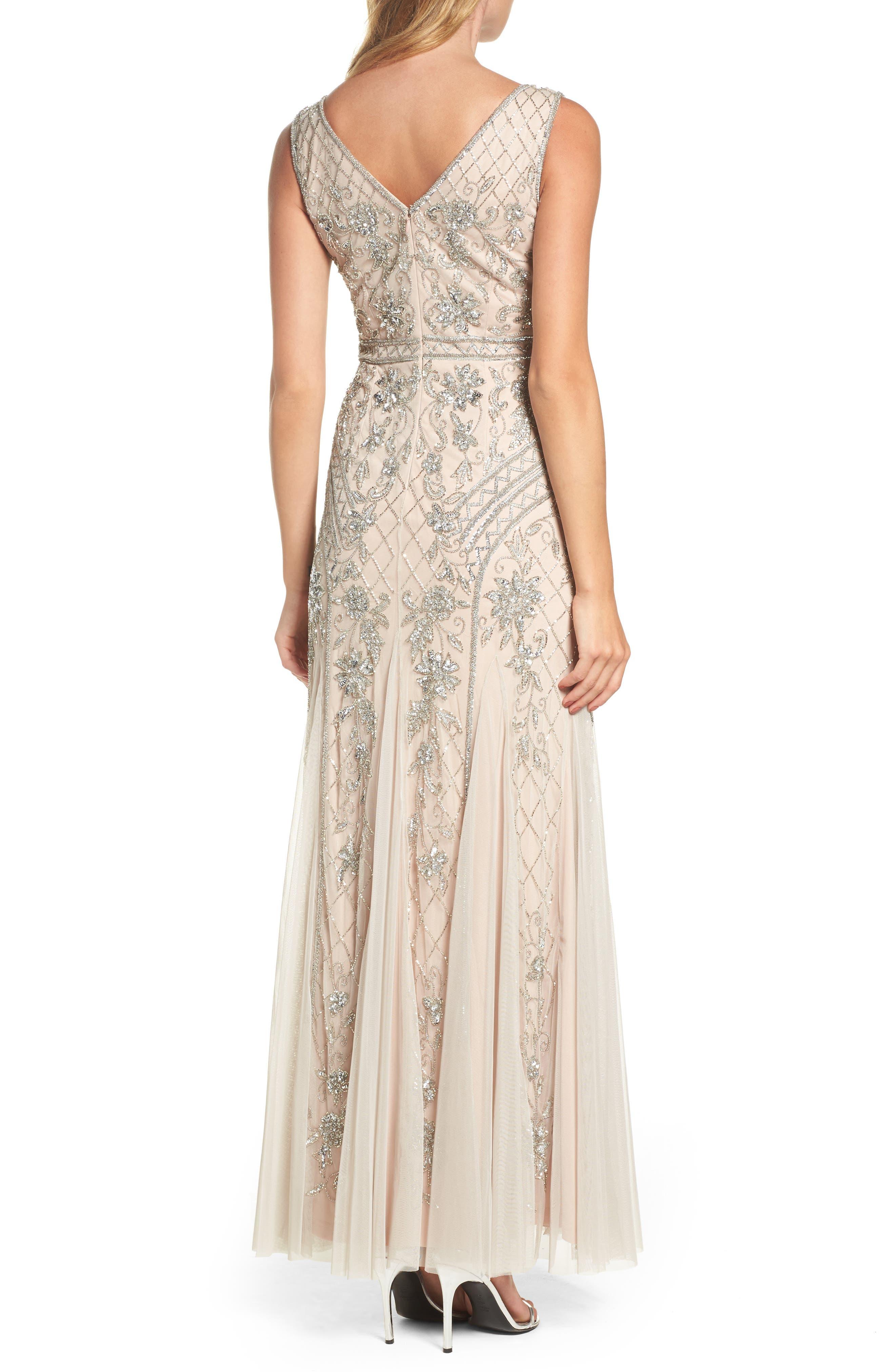 Beaded Double V-Neck Gown,                             Alternate thumbnail 2, color,                             040