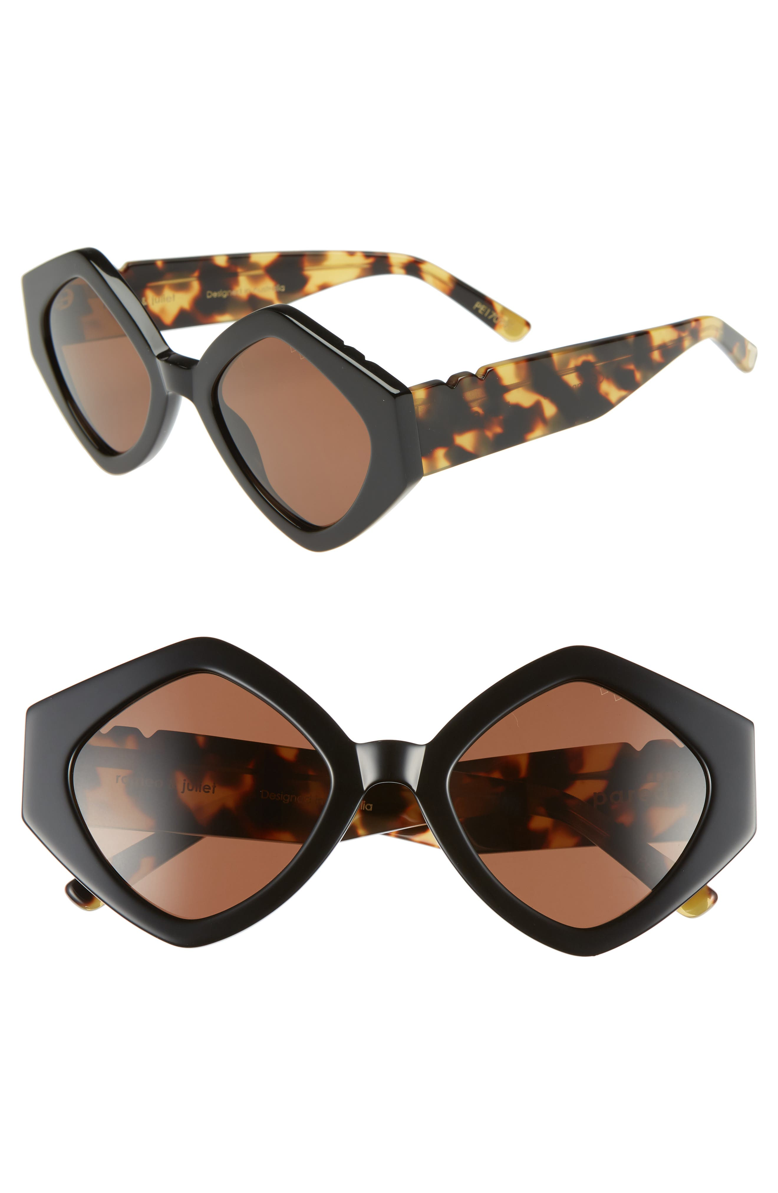 Romeo & Juliet 52mm Sunglasses,                             Main thumbnail 1, color,                             BLACK SOLID BROWN LENSES