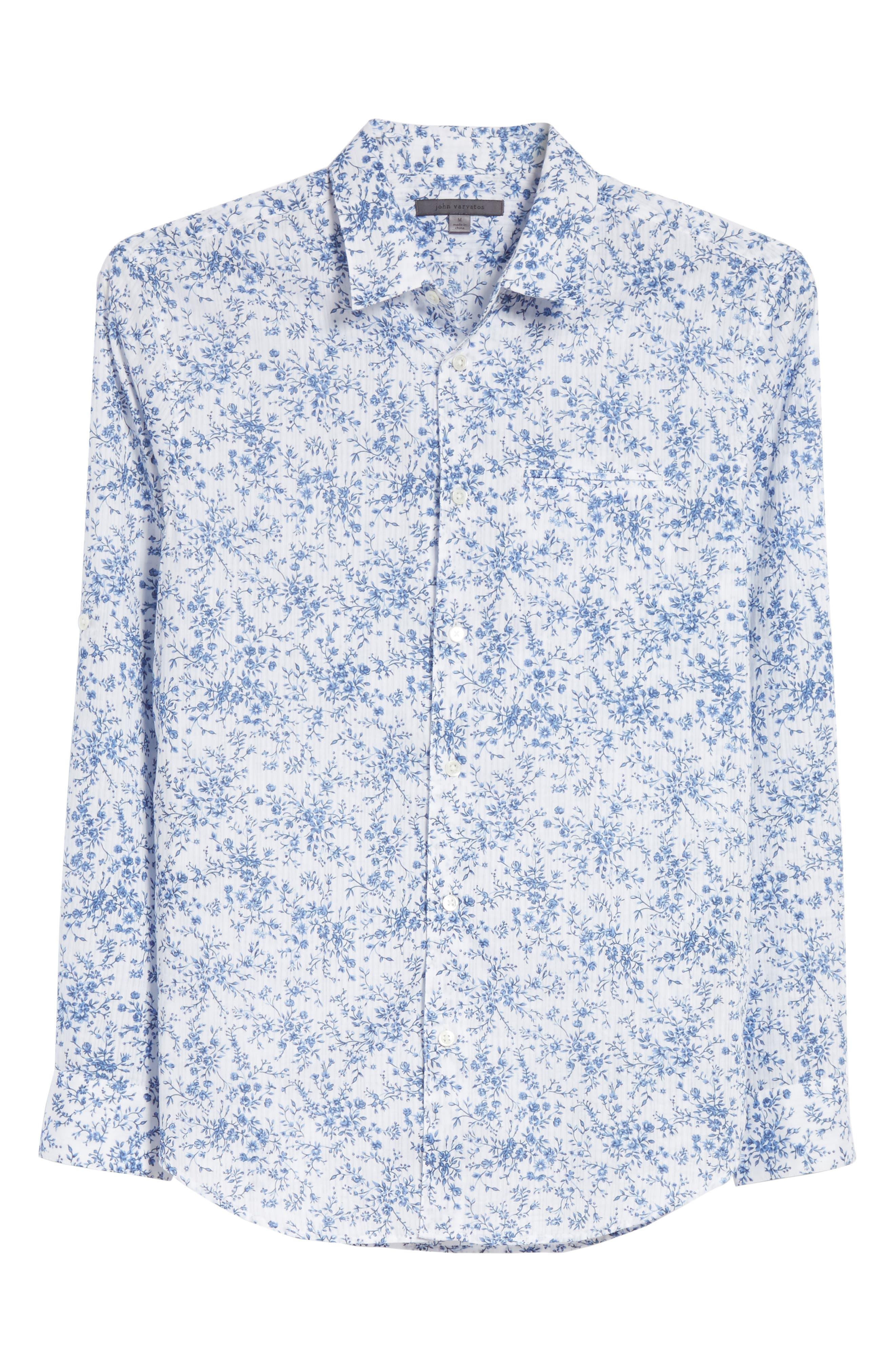 John Varvatos Slim Fit Floral Print Shirt,                             Alternate thumbnail 6, color,                             448