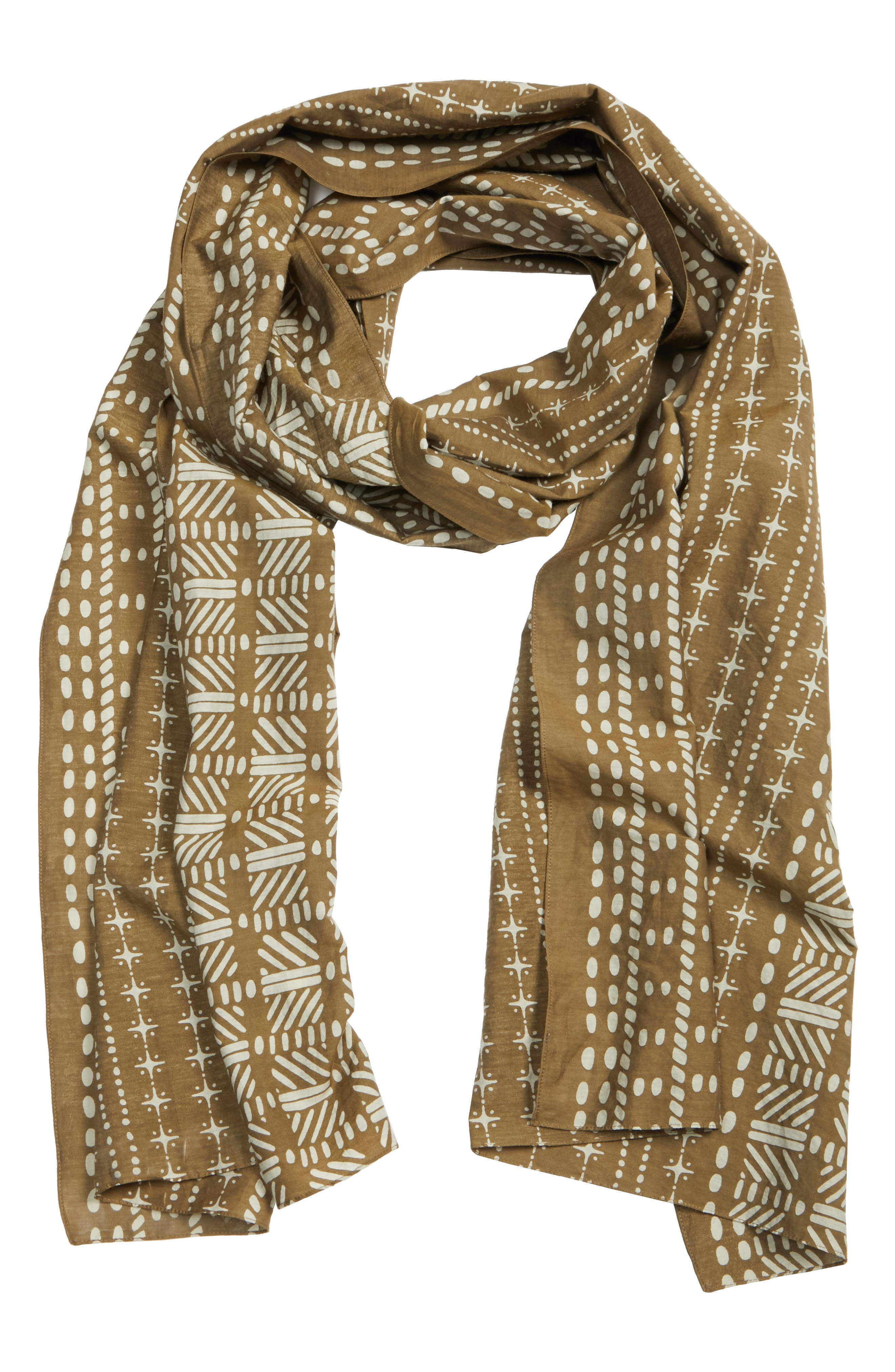 Mixed Print Scarf,                             Alternate thumbnail 3, color,                             OLIVE