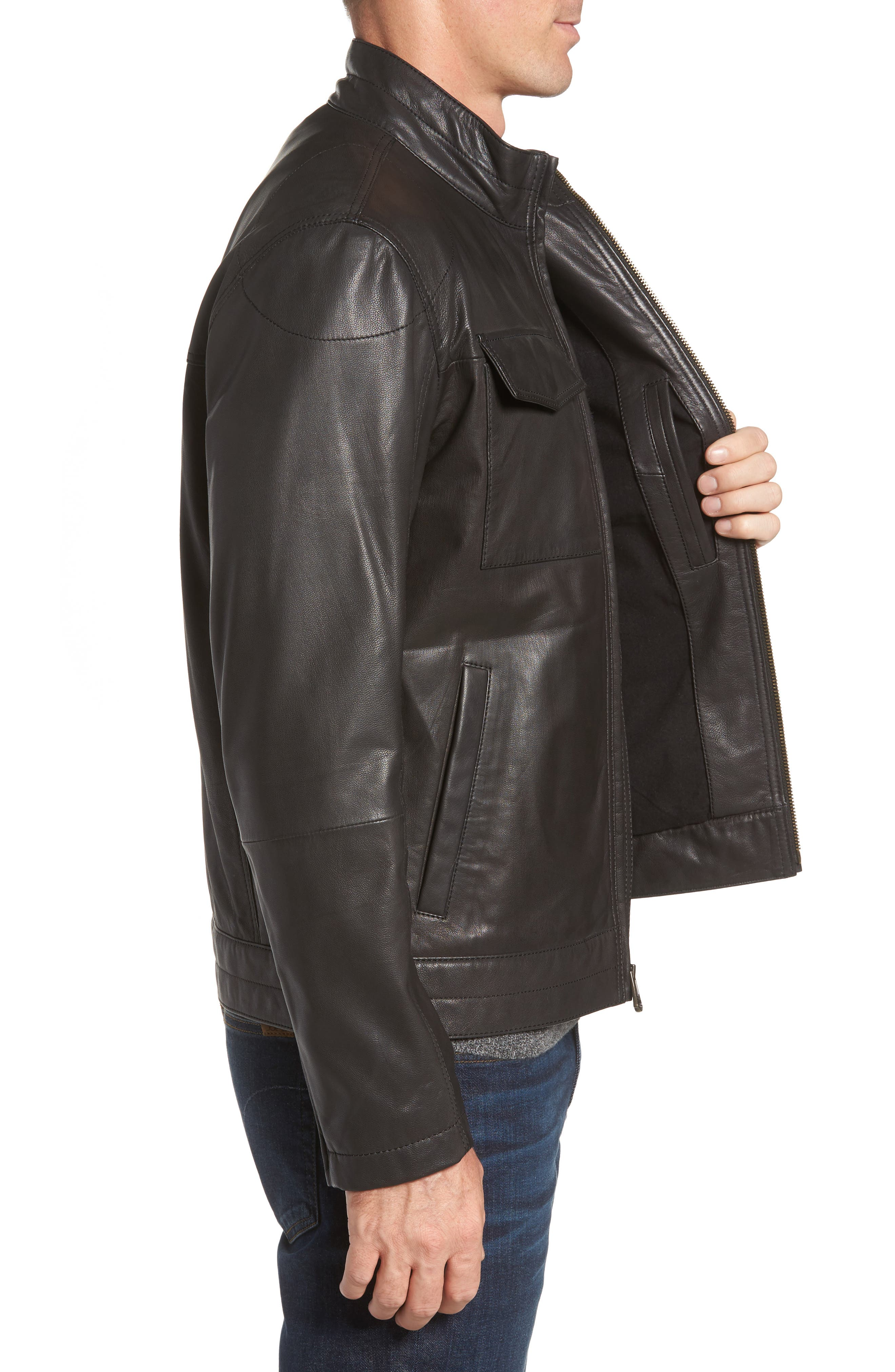 Washed Leather Trucker Jacket,                             Alternate thumbnail 3, color,                             BLACK