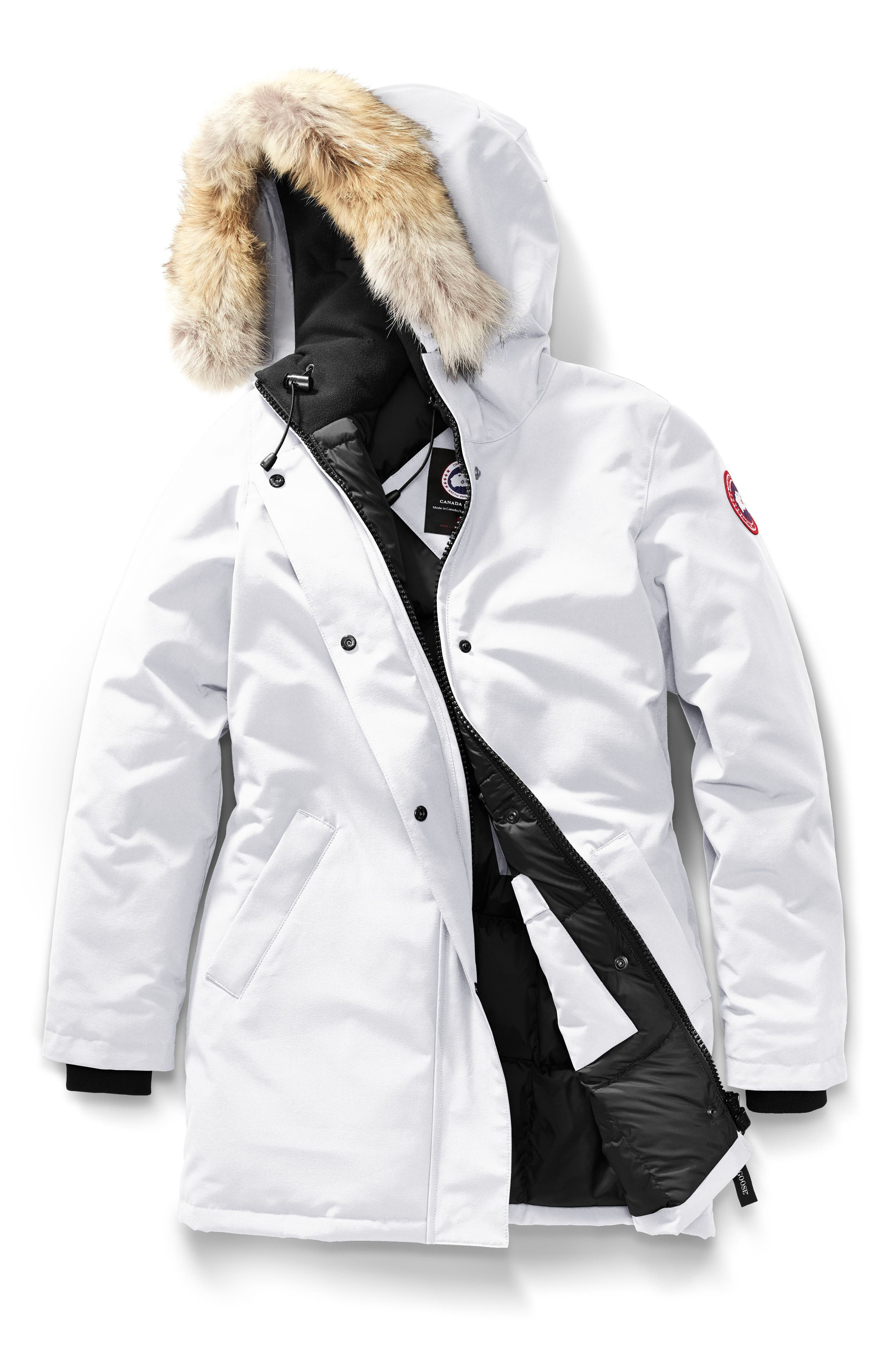 Victoria Down Parka with Genuine Coyote Fur Trim,                             Main thumbnail 1, color,                             NORTHSTAR WHITE