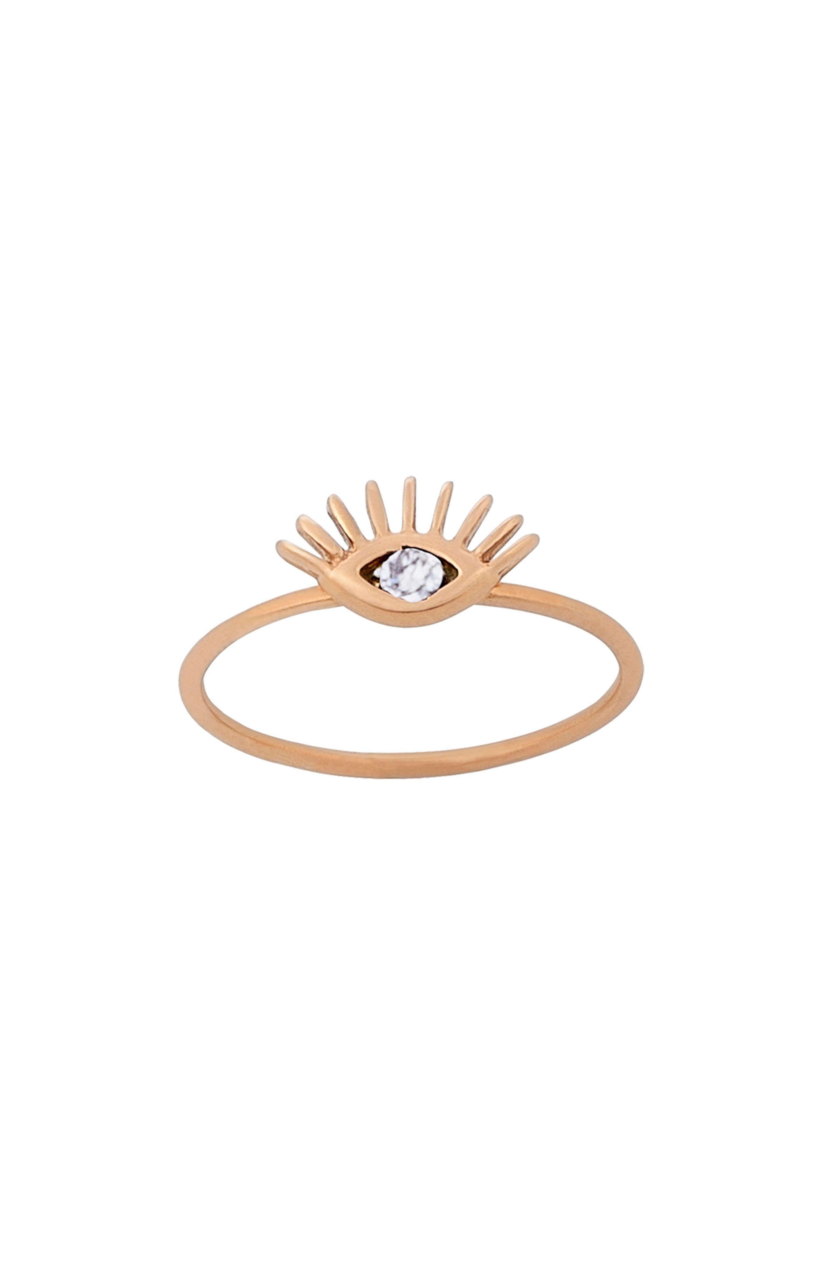 Diamond Evil Eye Ring,                         Main,                         color, ROSE GOLD