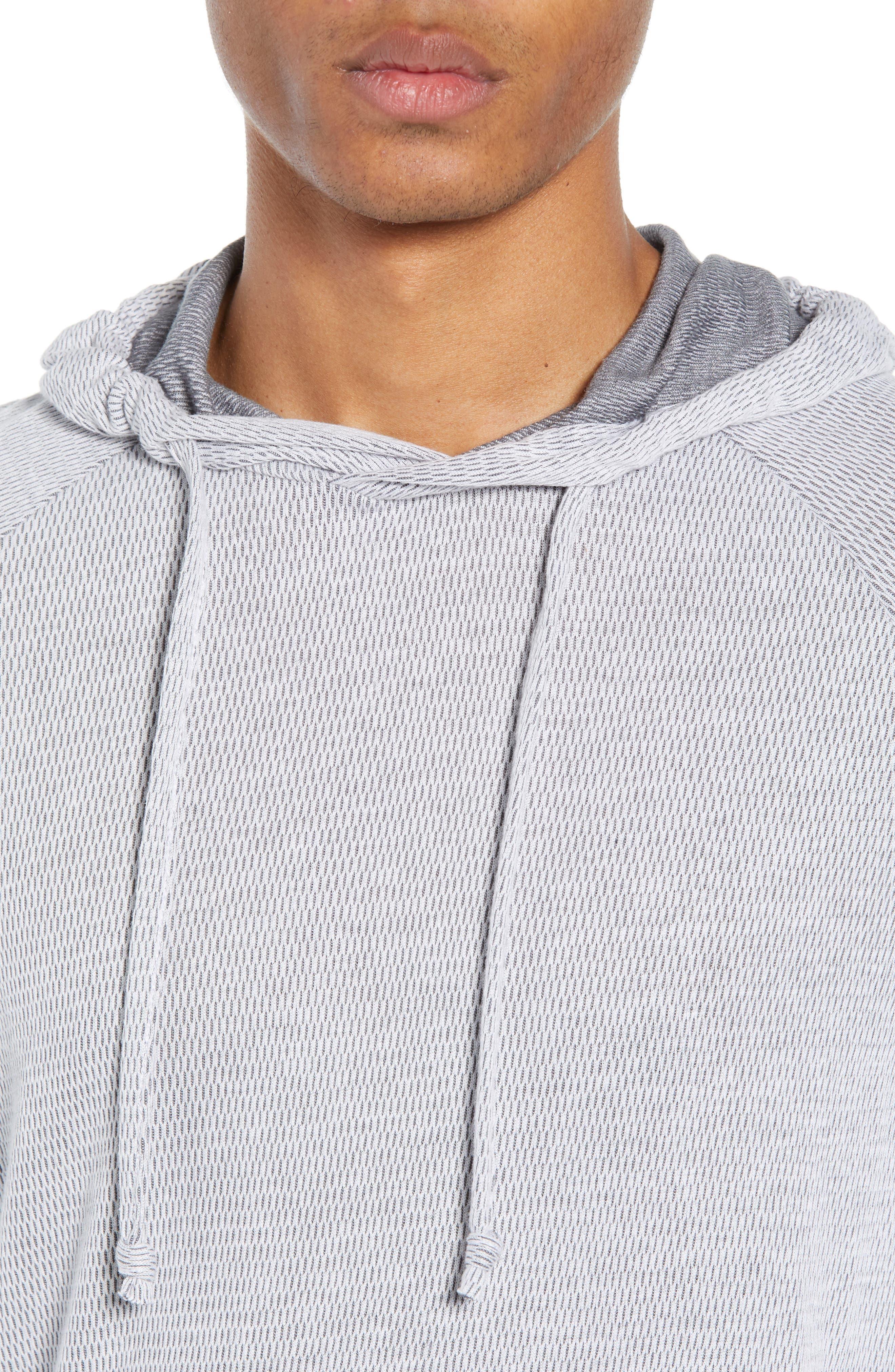 Thermal Knit Raglan Hoodie,                             Alternate thumbnail 4, color,                             GREY/ WHITE TWO TONE