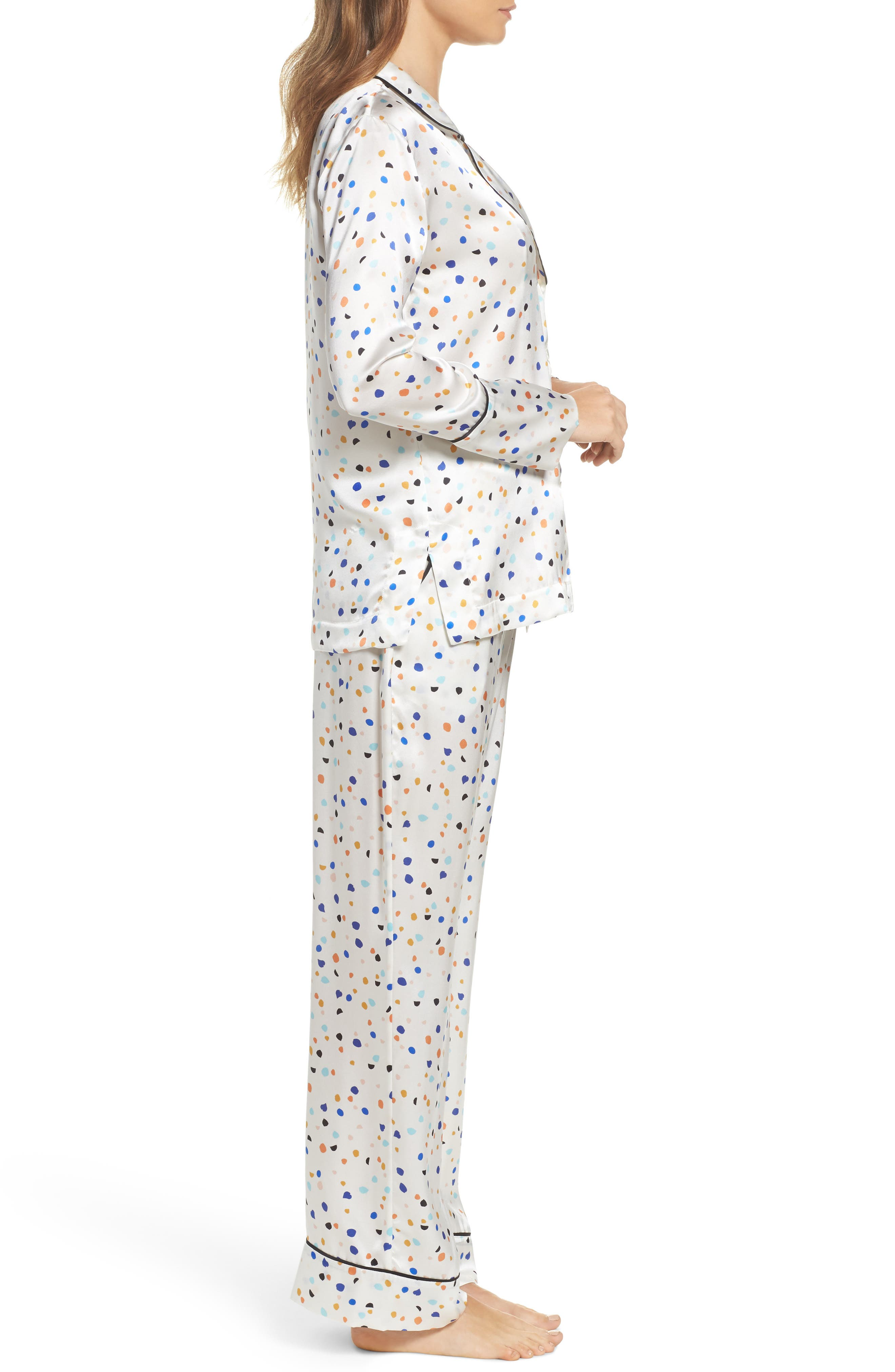 Lisbon Pebble Evie Silk Pajamas,                             Alternate thumbnail 3, color,                             100