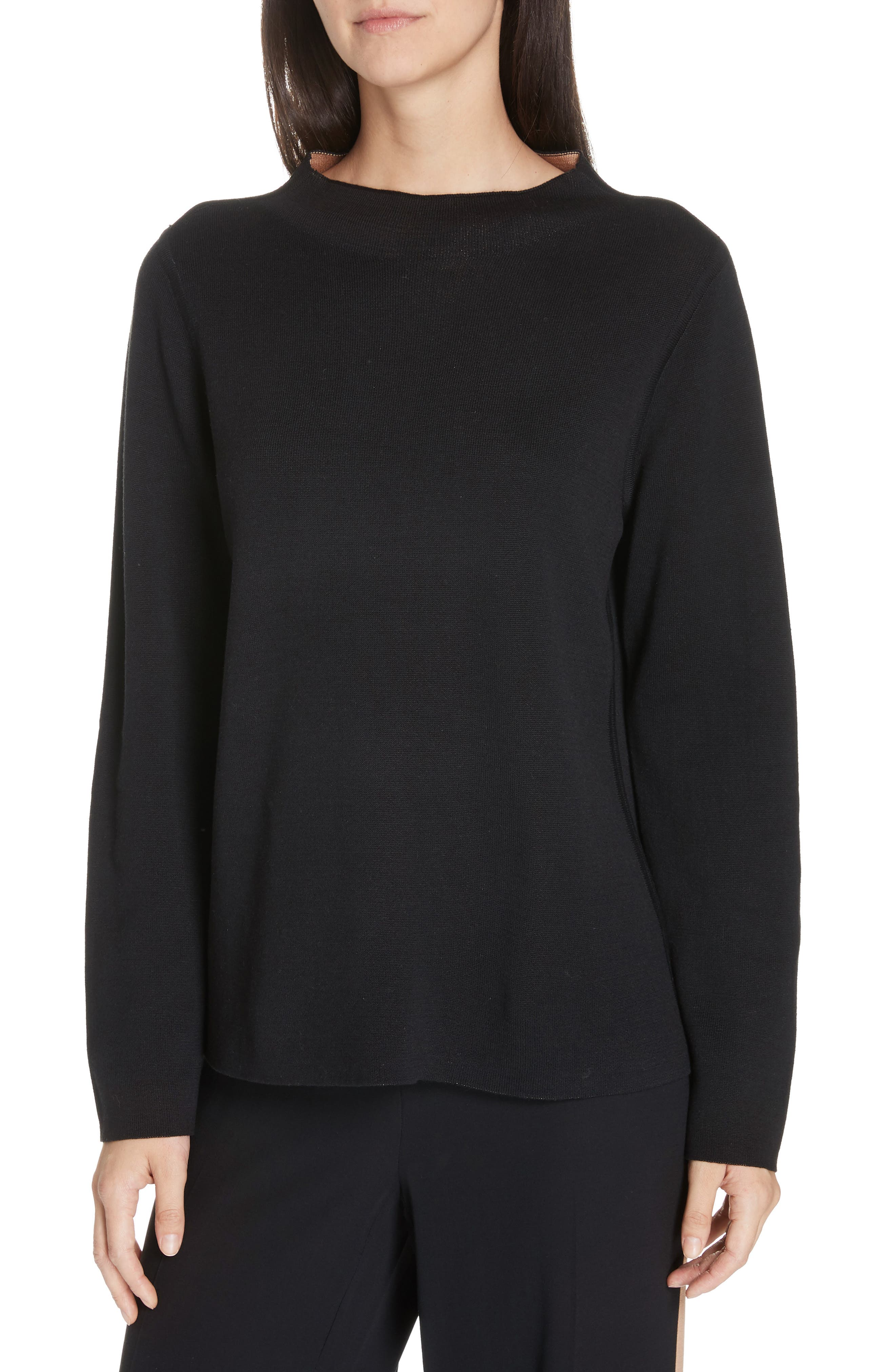Reversilble Silk Blend Sweater,                         Main,                         color, BLACK/ CLAY