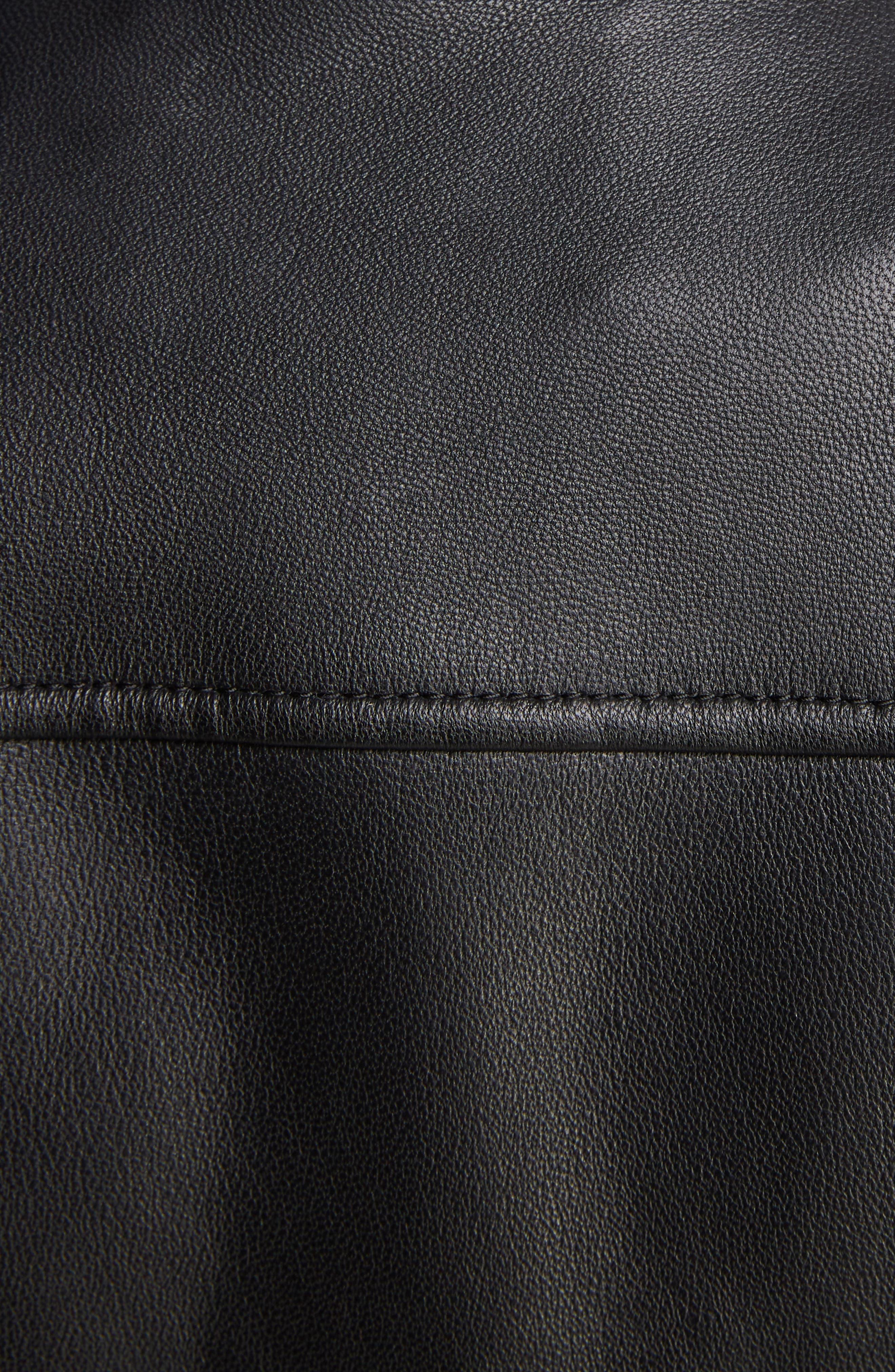 Lewis Leather Moto Jacket,                             Alternate thumbnail 5, color,                             BLACK
