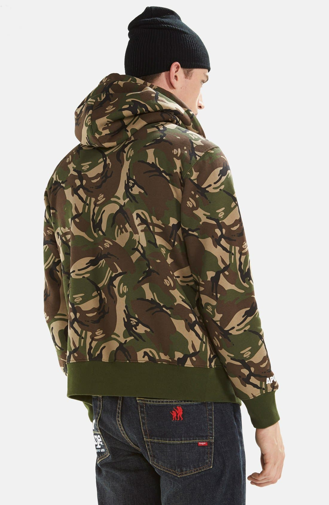 AAPE BY A BATHING APE<SUP>®</SUP>,                             Camo Full Zip Hoodie,                             Alternate thumbnail 4, color,                             340