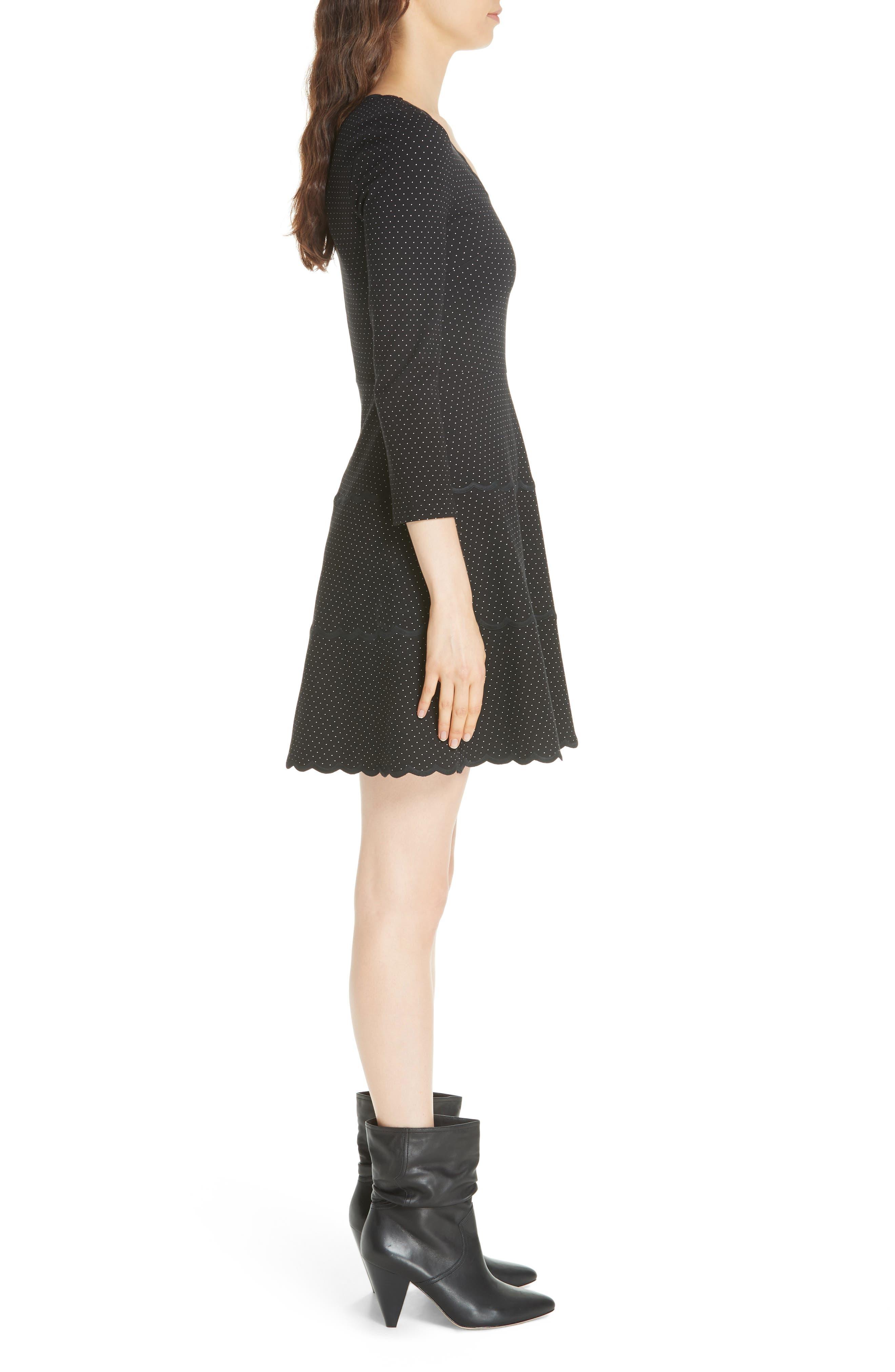 pin dot scallop ponte fit & flare dress,                             Alternate thumbnail 3, color,                             001