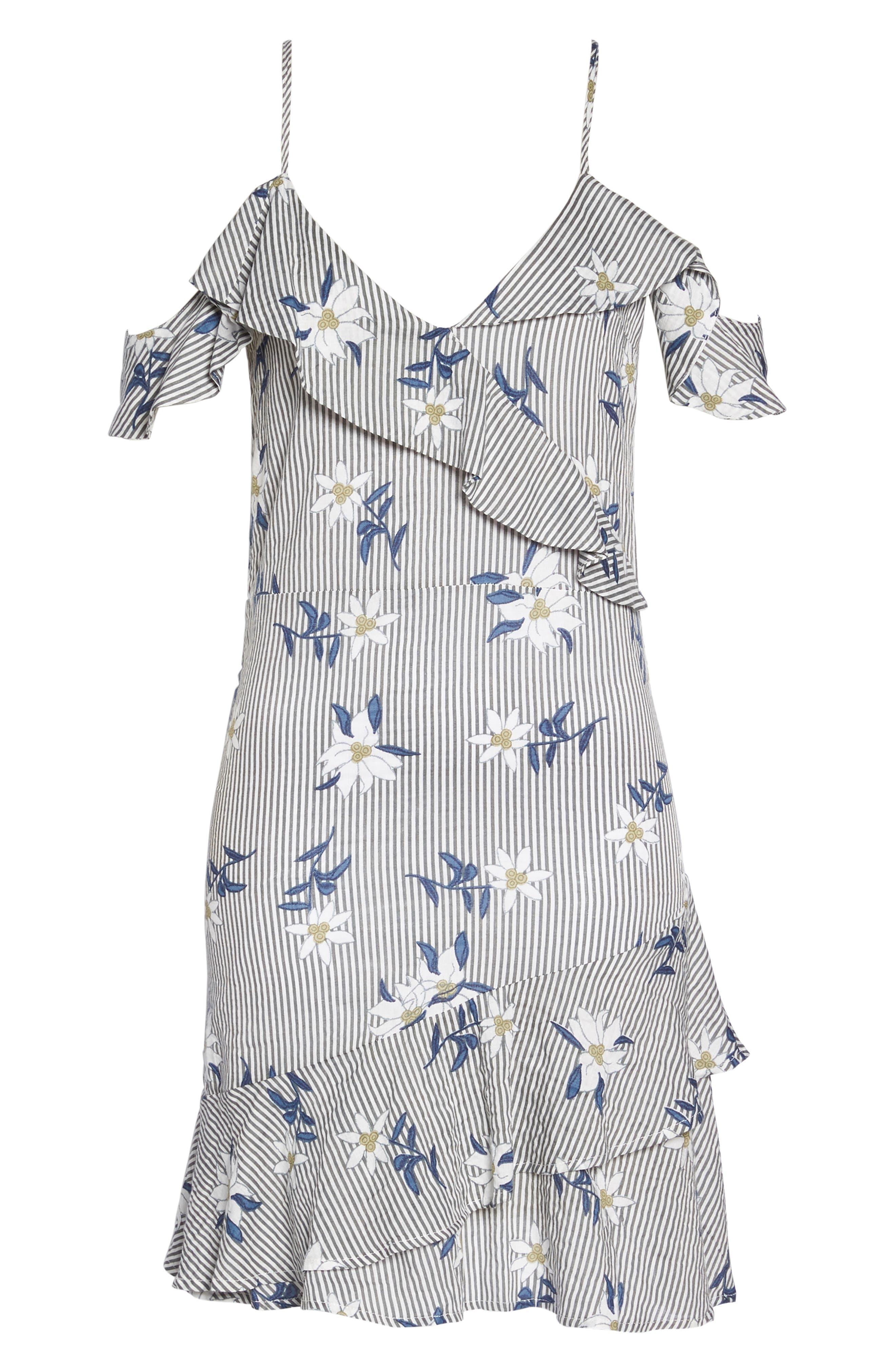 Printed Cold Shoulder Ruffle Dress,                             Alternate thumbnail 7, color,                             020