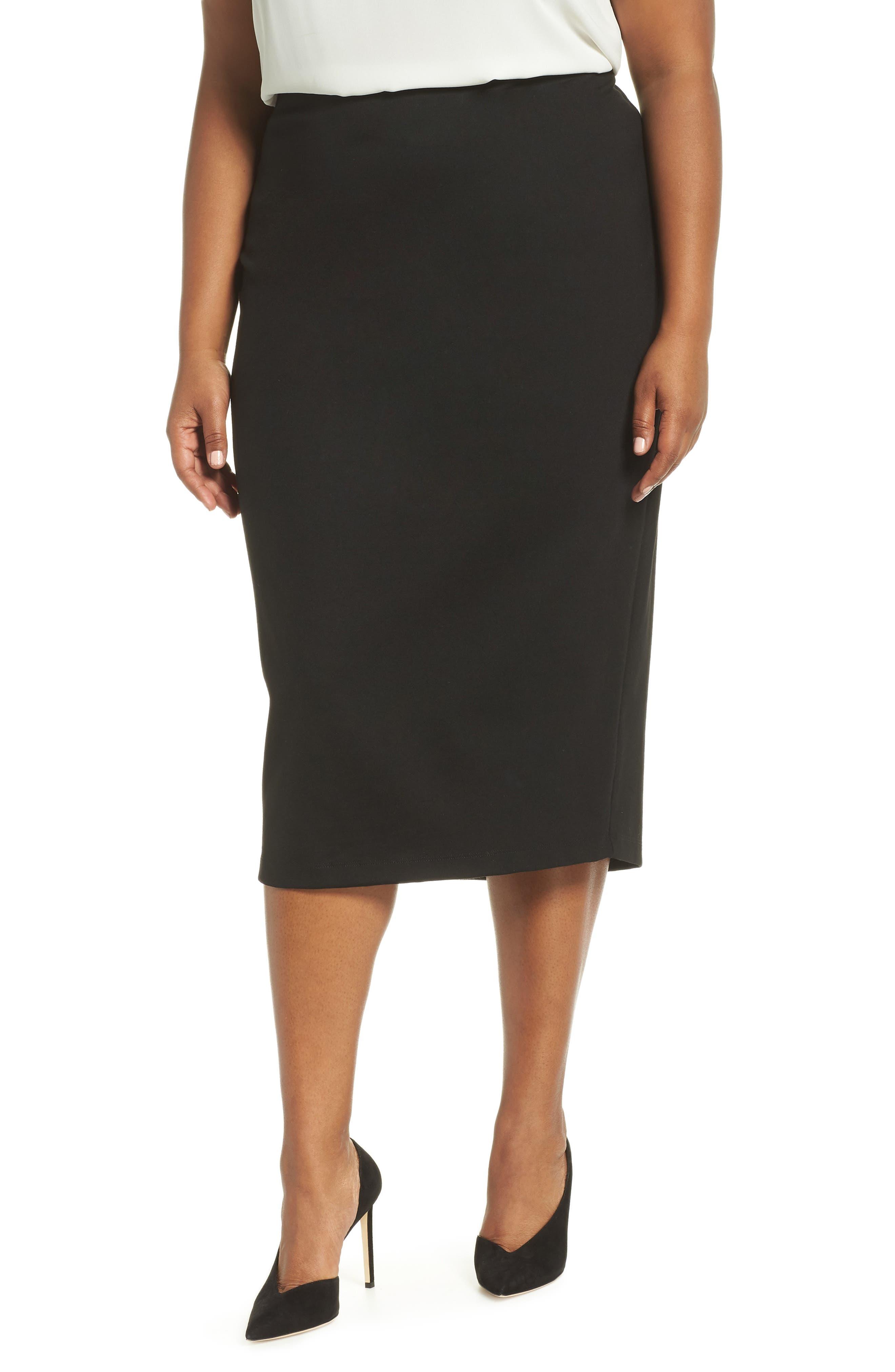 Ponte Pencil Skirt,                             Main thumbnail 1, color,                             BLACK