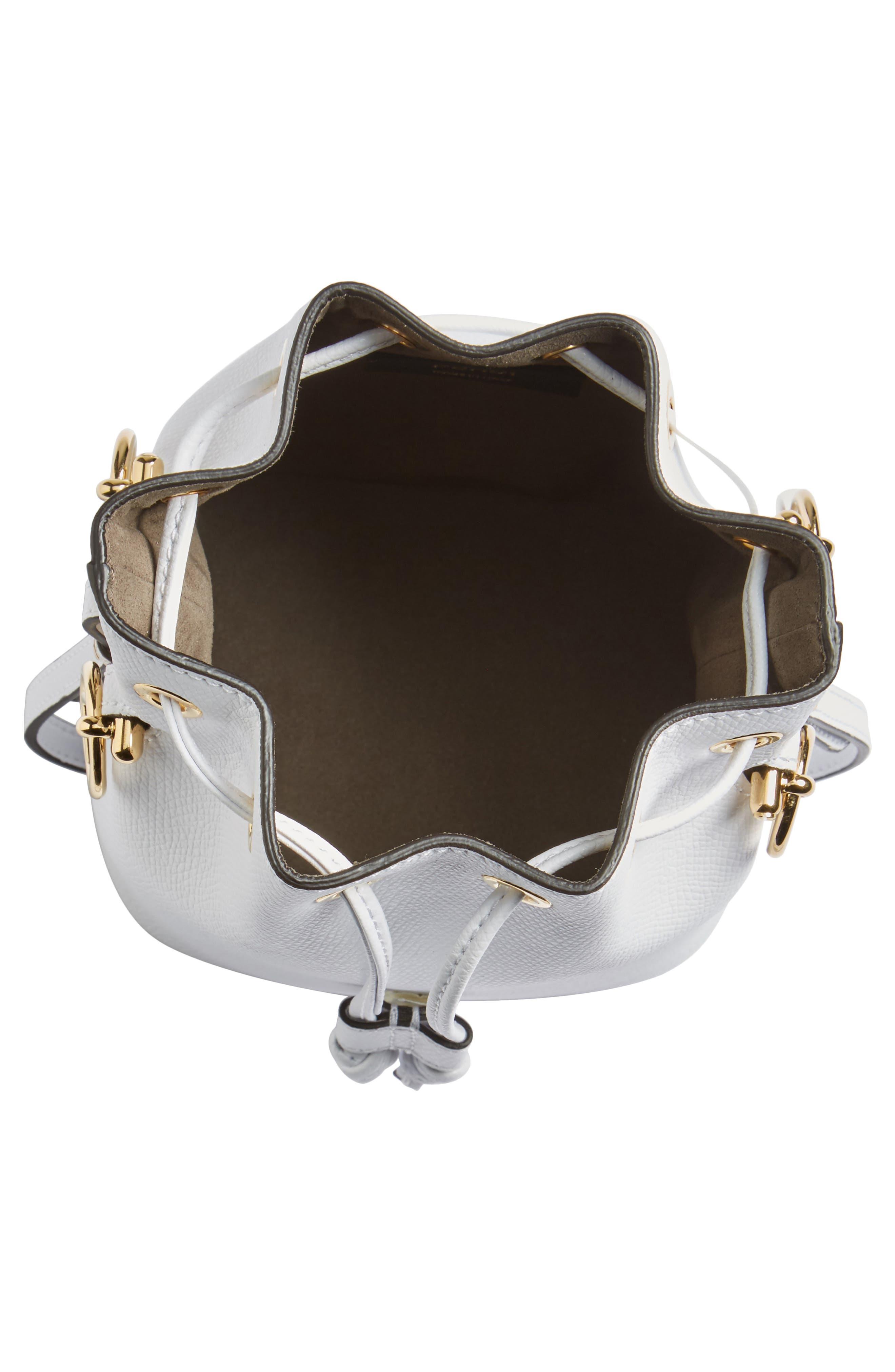 Mini Leather Bucket Bag,                             Alternate thumbnail 7, color,