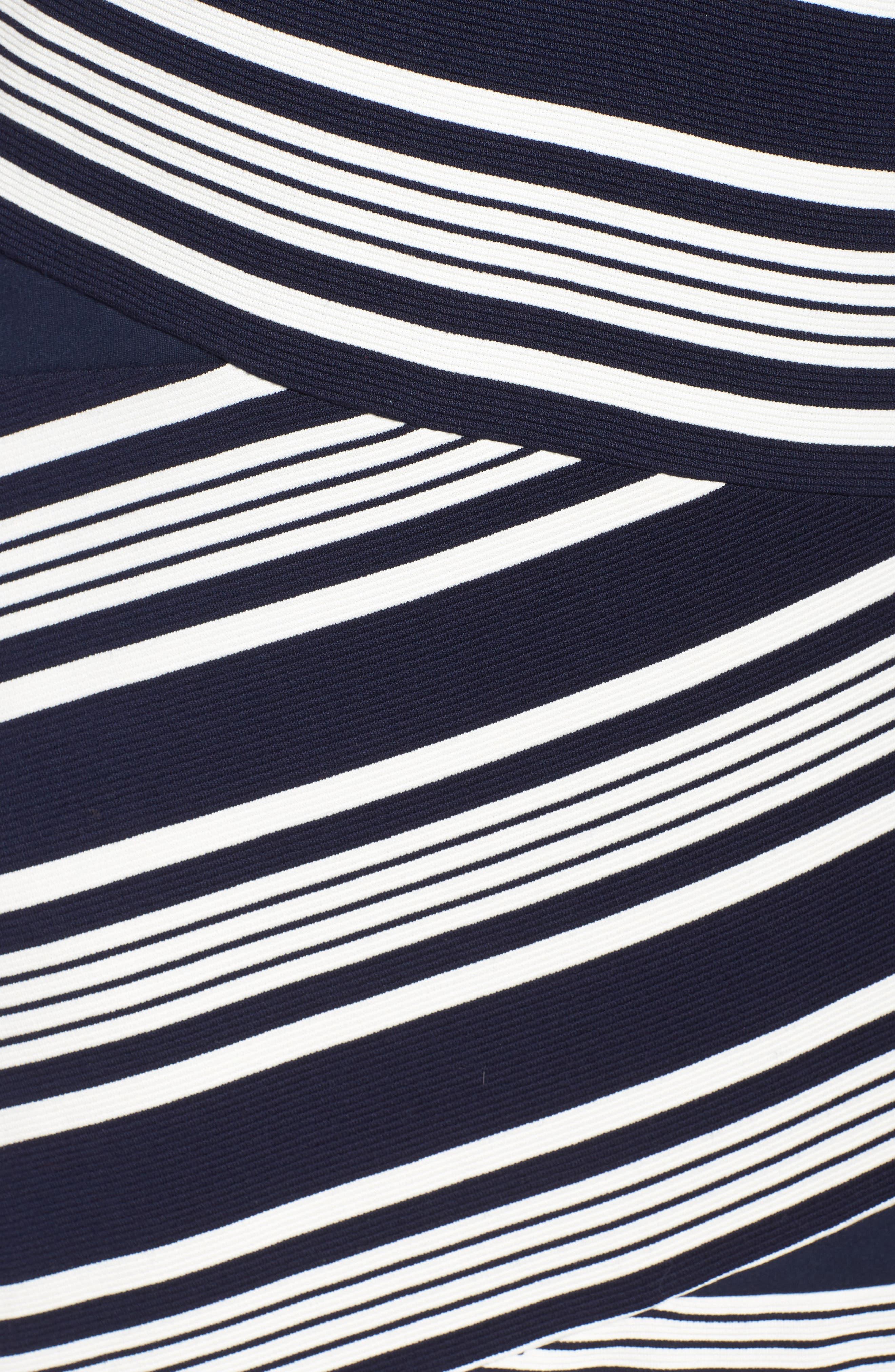 Stripe Body-Con Dress,                             Alternate thumbnail 6, color,                             484