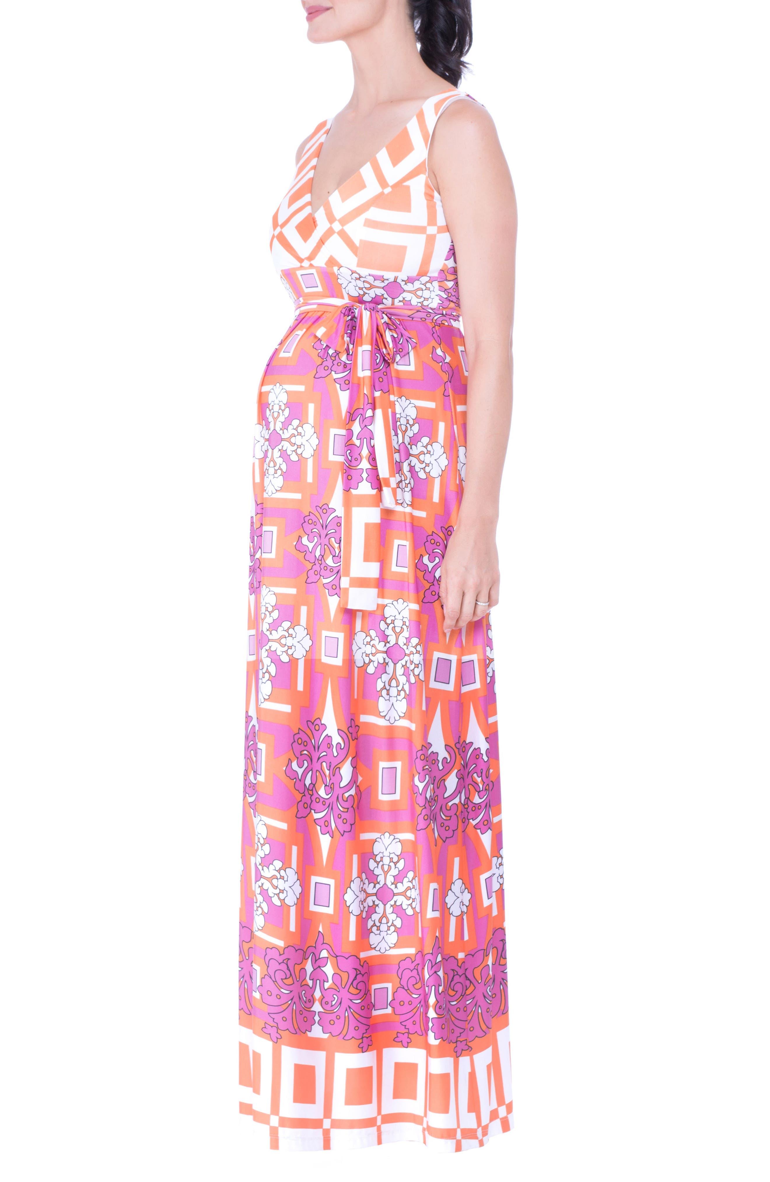 Print Maternity Maxi Dress,                             Alternate thumbnail 3, color,