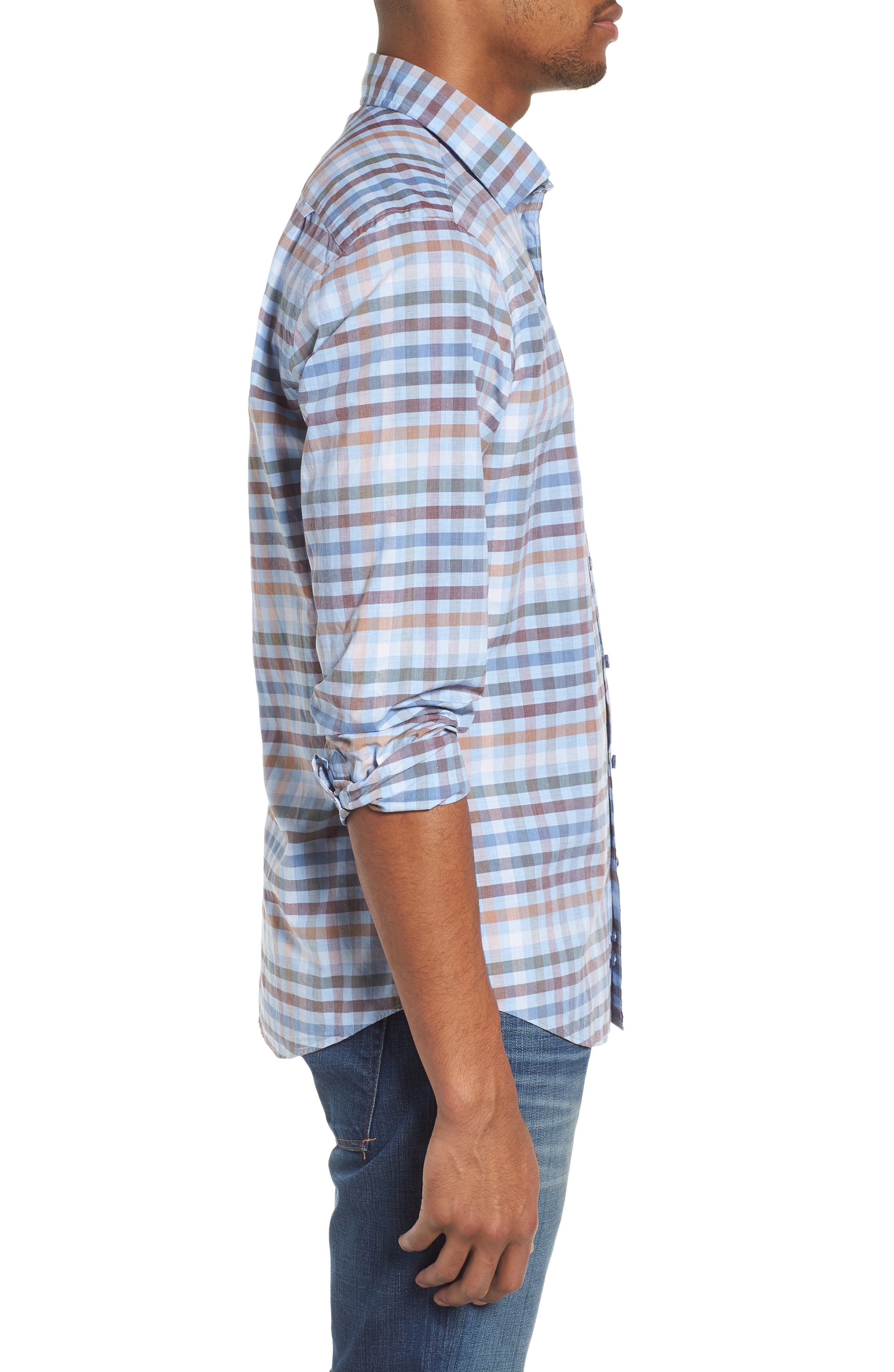 Rothesay Regular Fit Check Sport Shirt,                             Alternate thumbnail 3, color,                             STONEWASH