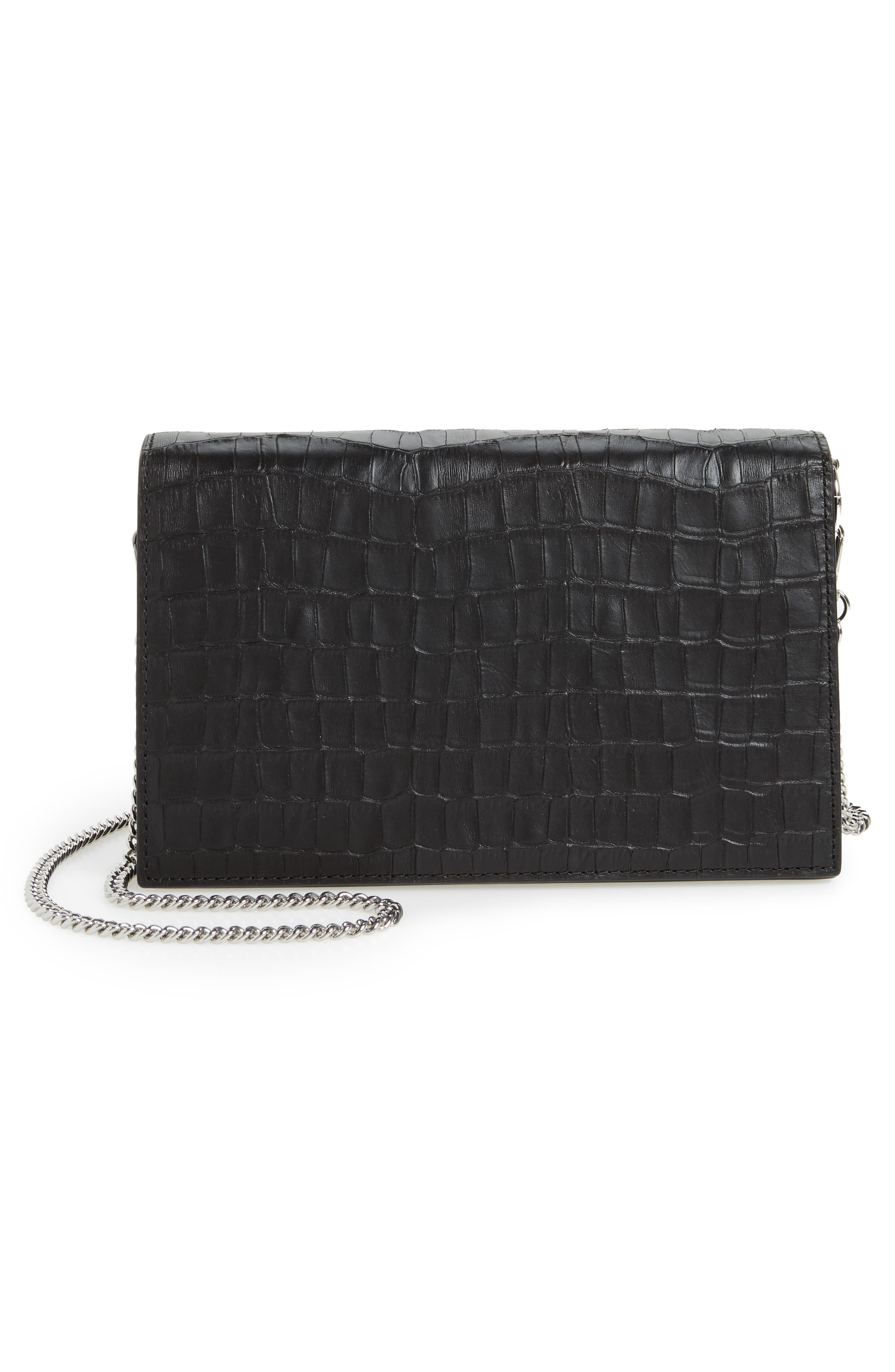 Keel Croc Embossed Leather Box Bag,                             Alternate thumbnail 3, color,                             001