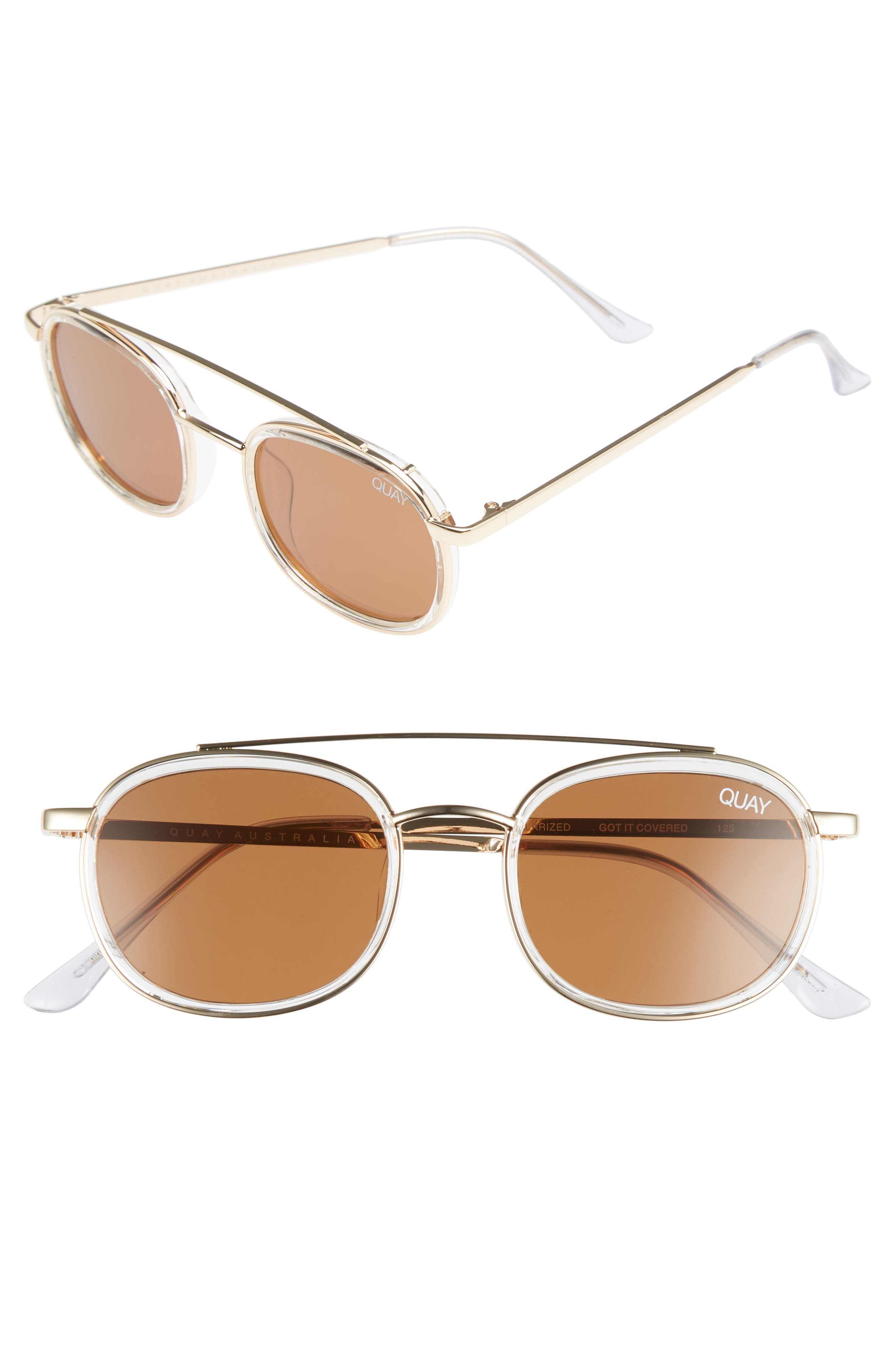 Got It Covered 50mm Polarized Sunglasses,                             Main thumbnail 1, color,                             CLEAR / BROWN LENS