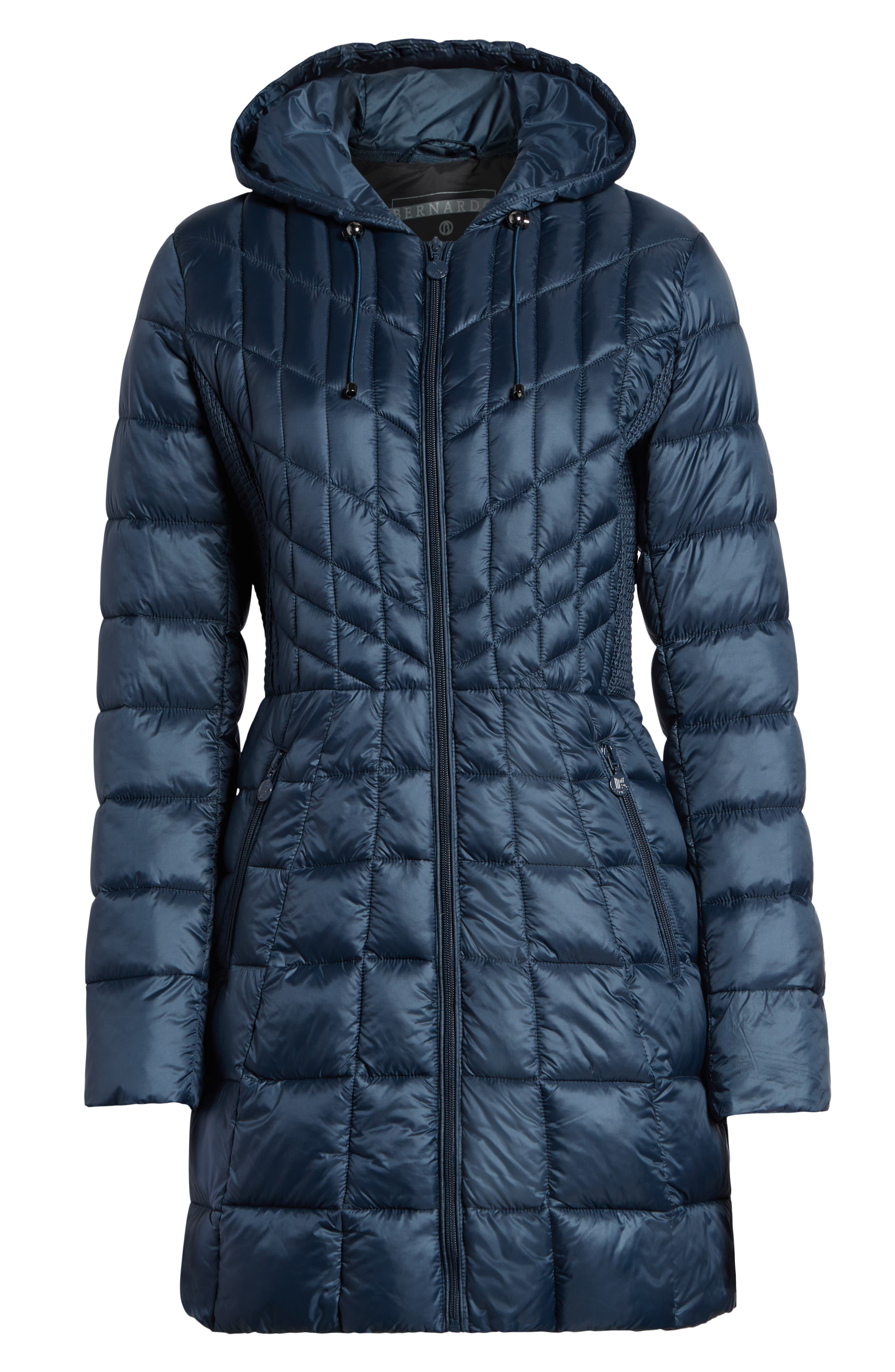 Packable Hooded PrimaLoft<sup>®</sup> Fill Coat with Contrast Inset Bib,                             Alternate thumbnail 7, color,                             300